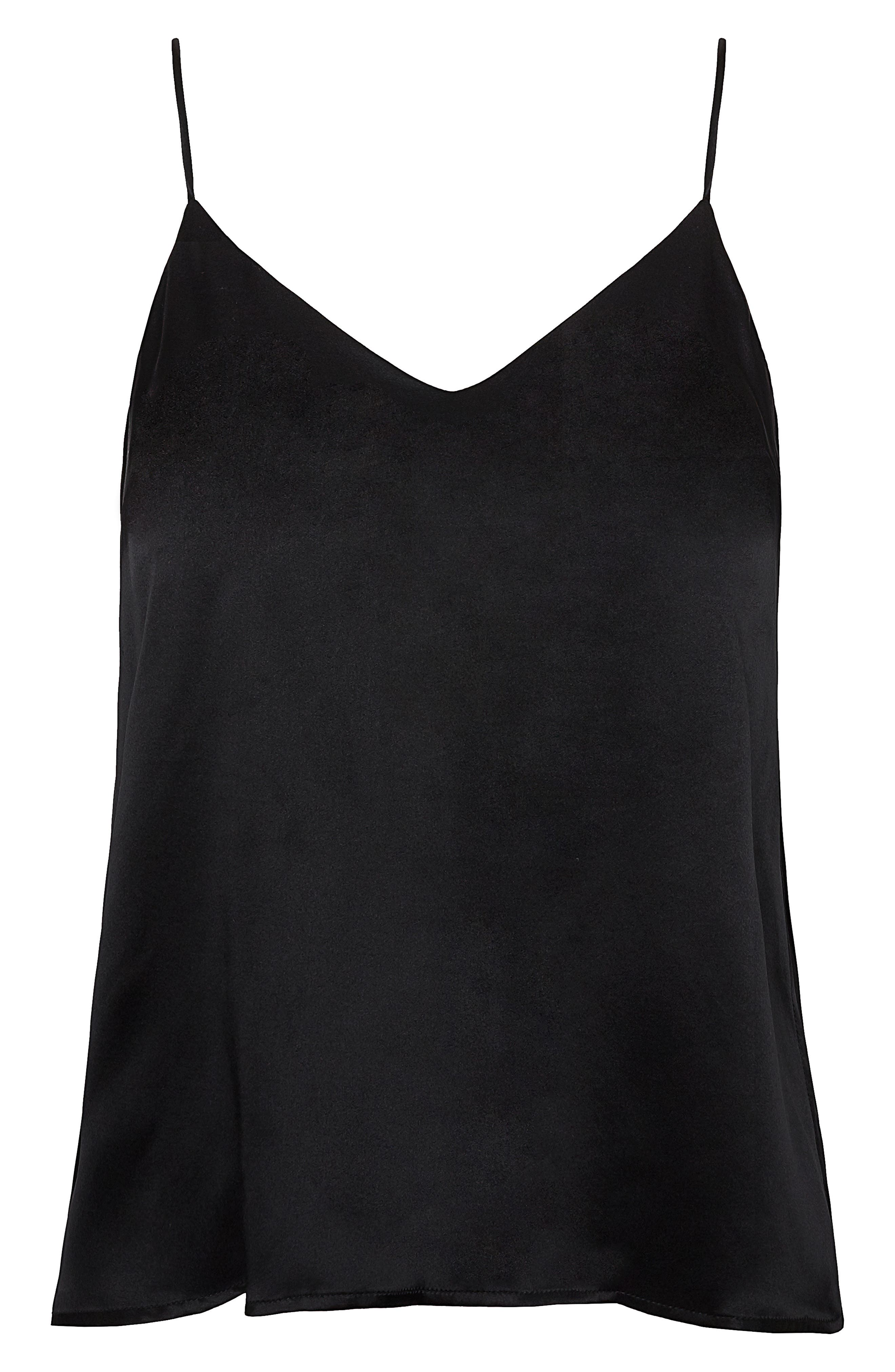 ANINE BING,                             Gwyneth Silk Satin Camisole,                             Alternate thumbnail 4, color,                             BLACK