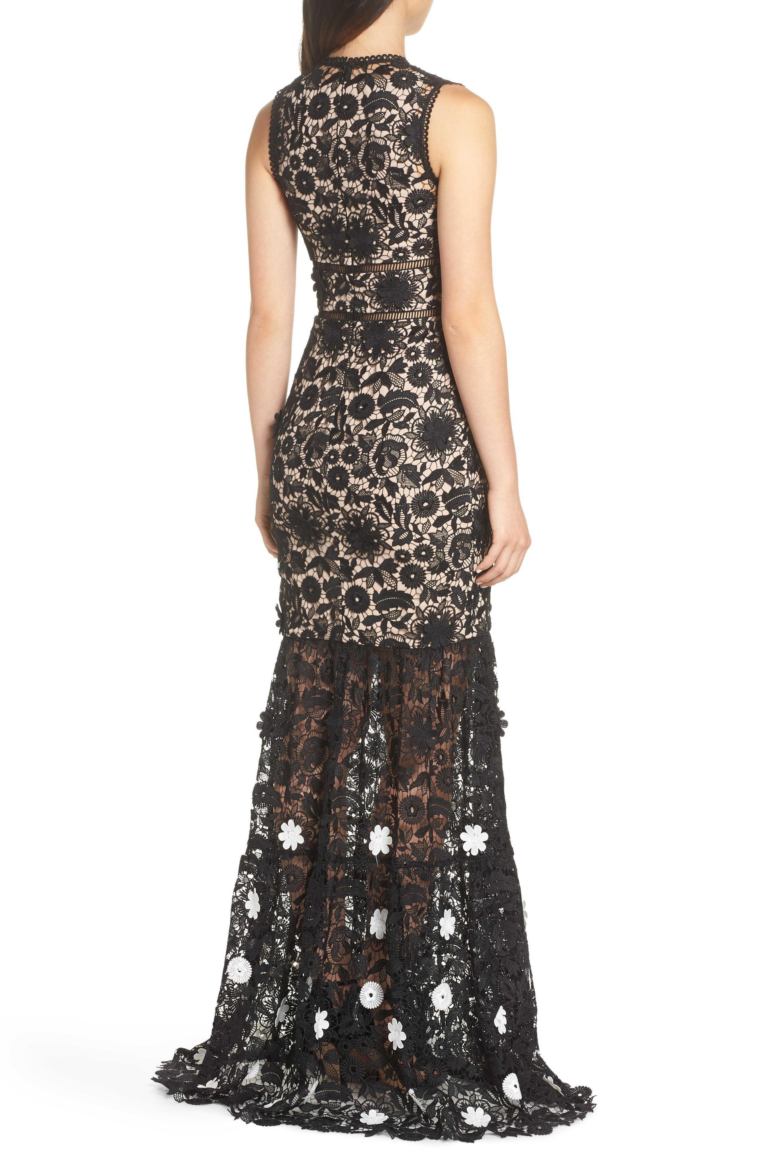 3D Black & White Floral Lace Gown,                             Alternate thumbnail 2, color,                             JET IVORY COMBO