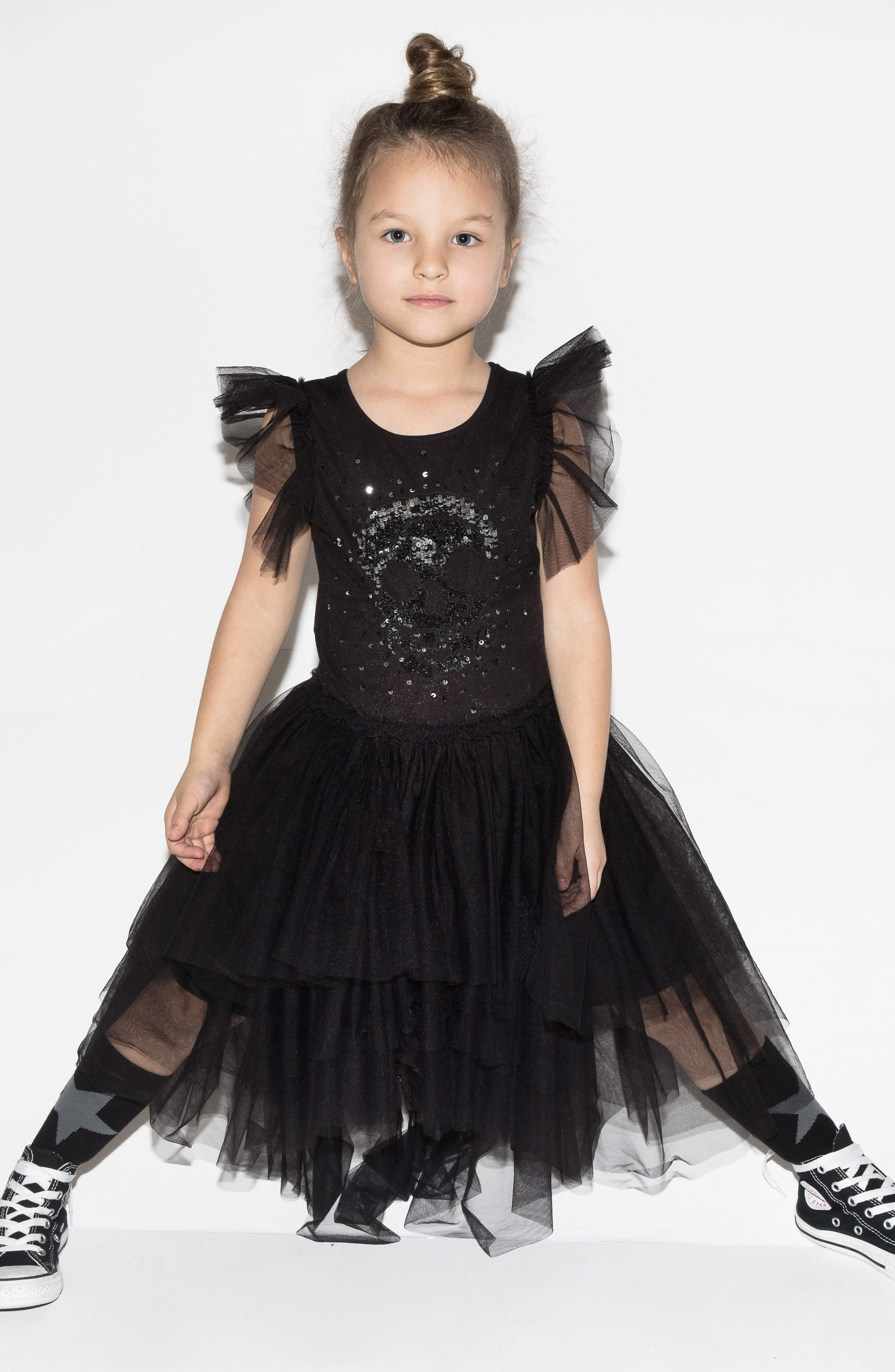 Sequin Embroidered Tulle Dress,                             Alternate thumbnail 4, color,                             BLACK