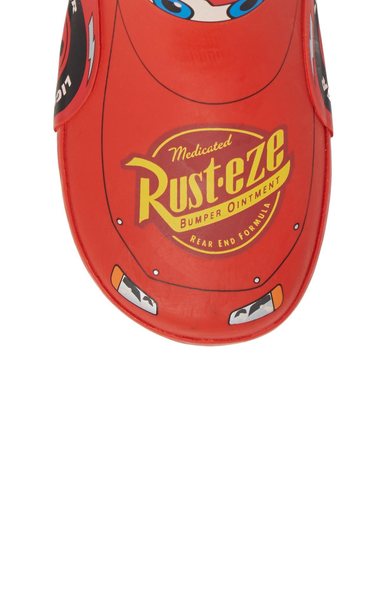 Lightning McQueen Waterproof Rain Boot,                             Alternate thumbnail 5, color,                             RED