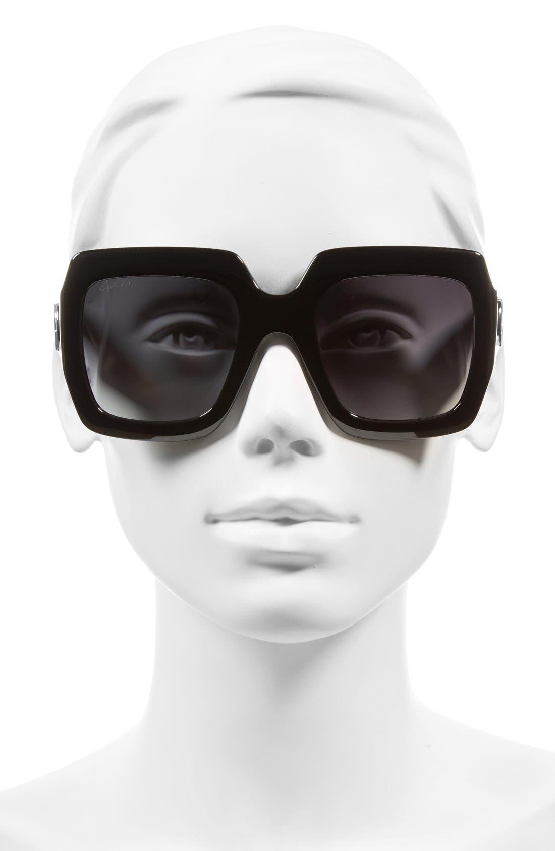 GUCCI,                             58mm Oversize Square Sunglasses,                             Alternate thumbnail 2, color,                             001