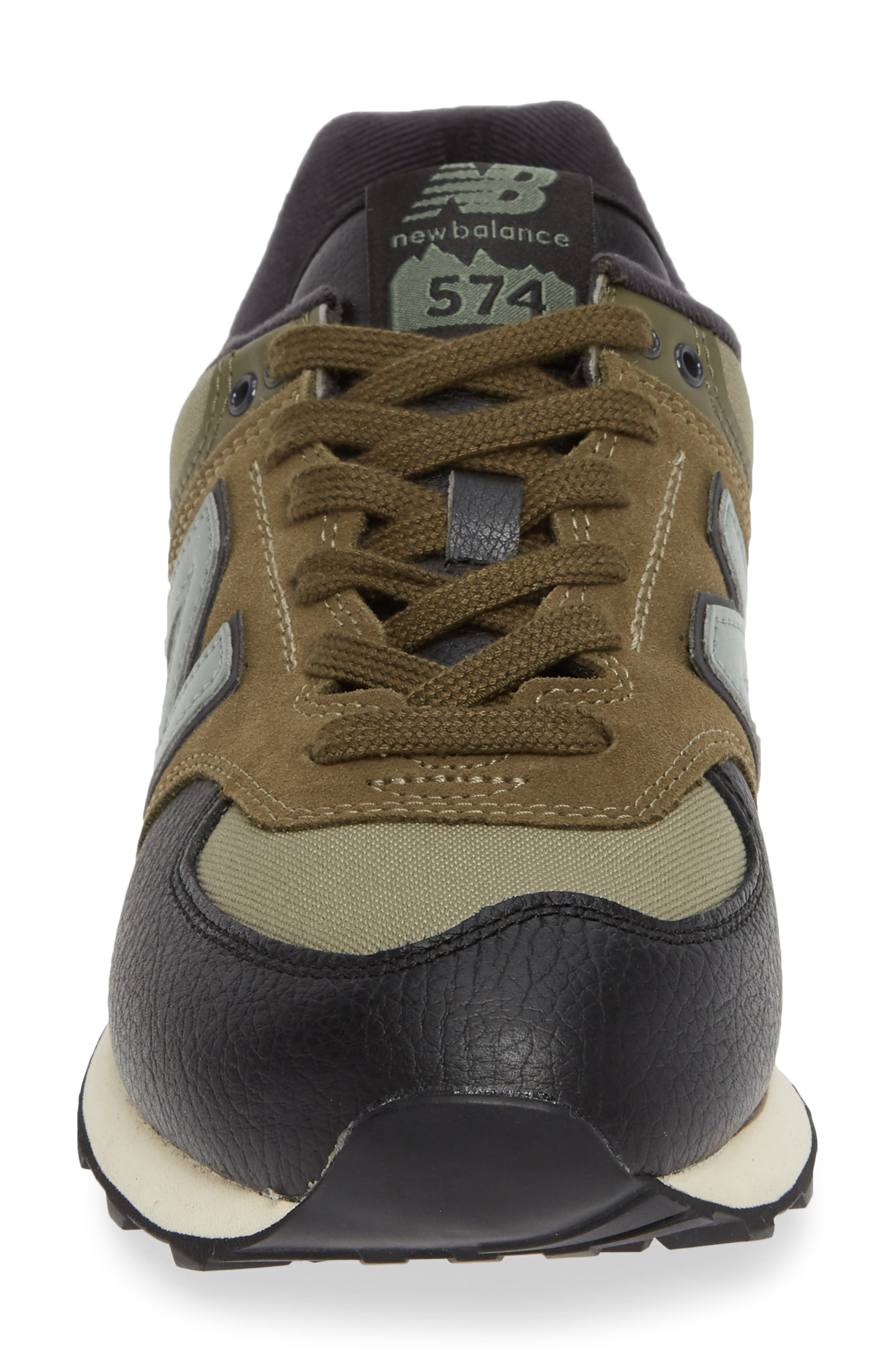 574 Classic Sneaker,                             Alternate thumbnail 4, color,                             COVERT GREEN SUEDE/ TEXTILE
