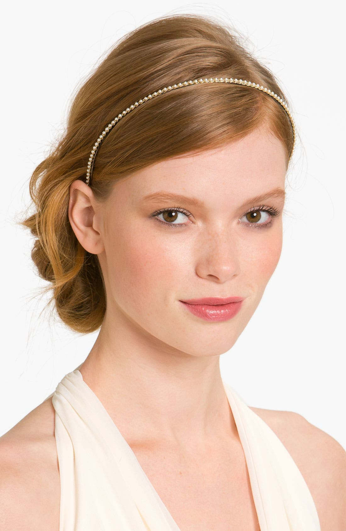'Skinny Pearl' Headband,                         Main,                         color, 101