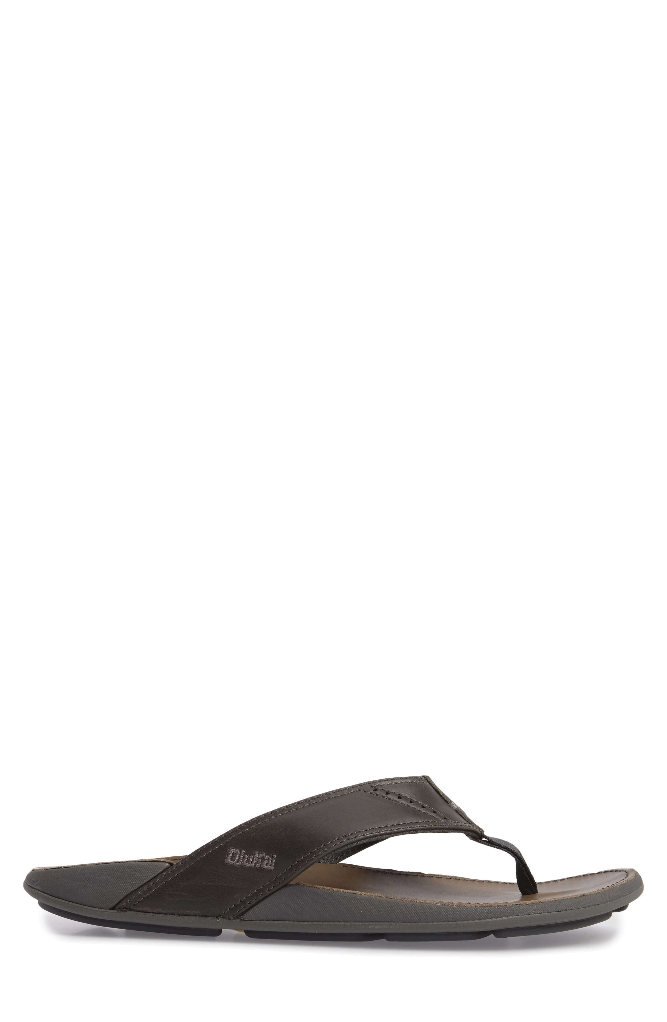 'Nui' Leather Flip Flop,                             Alternate thumbnail 3, color,                             DARK SHADOW/ CHARCOAL LEATHER
