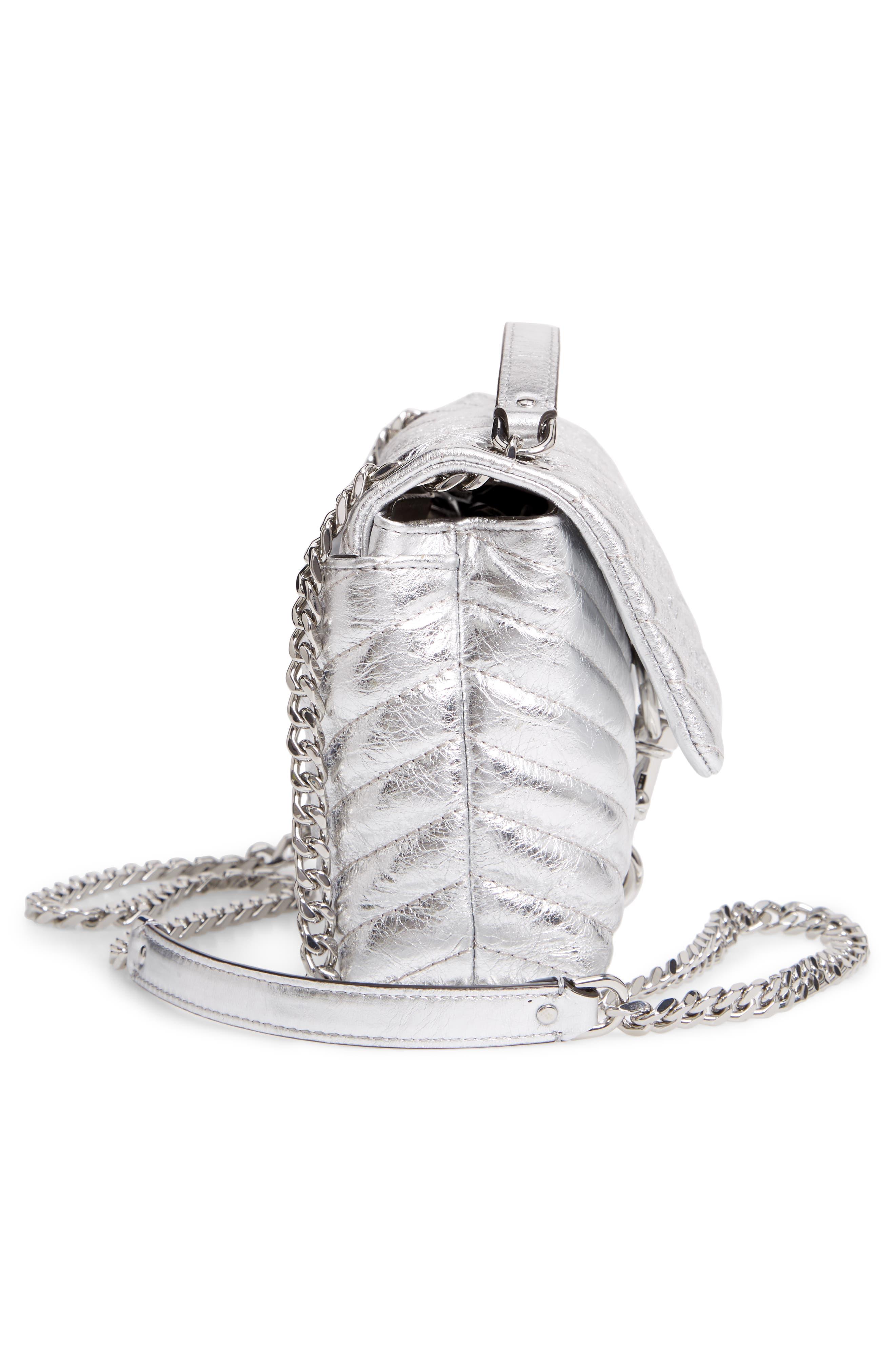 Edie Metallic Leather Shoulder Bag,                             Alternate thumbnail 5, color,                             SILVER