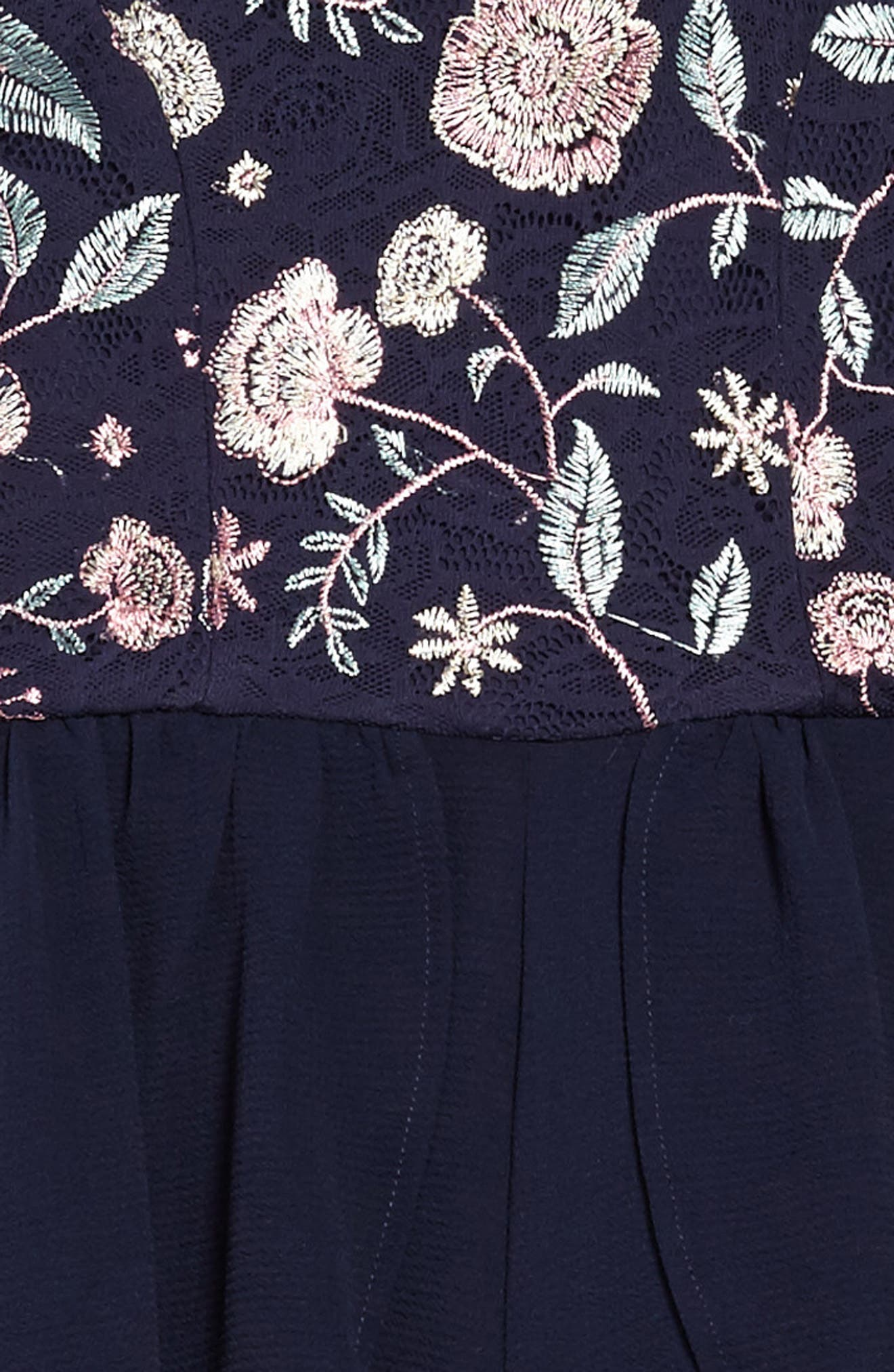 Floral Embroidered Walk Through Romper,                             Alternate thumbnail 3, color,                             001