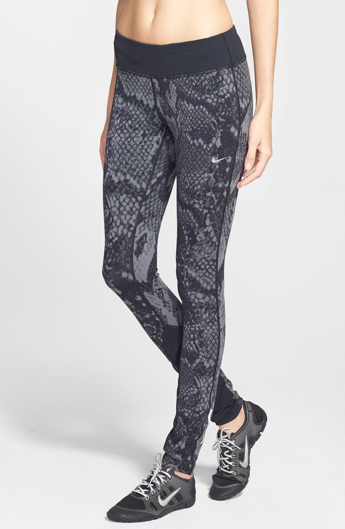 'Epic Lux' Snakeskin Print Running Tights,                             Main thumbnail 2, color,
