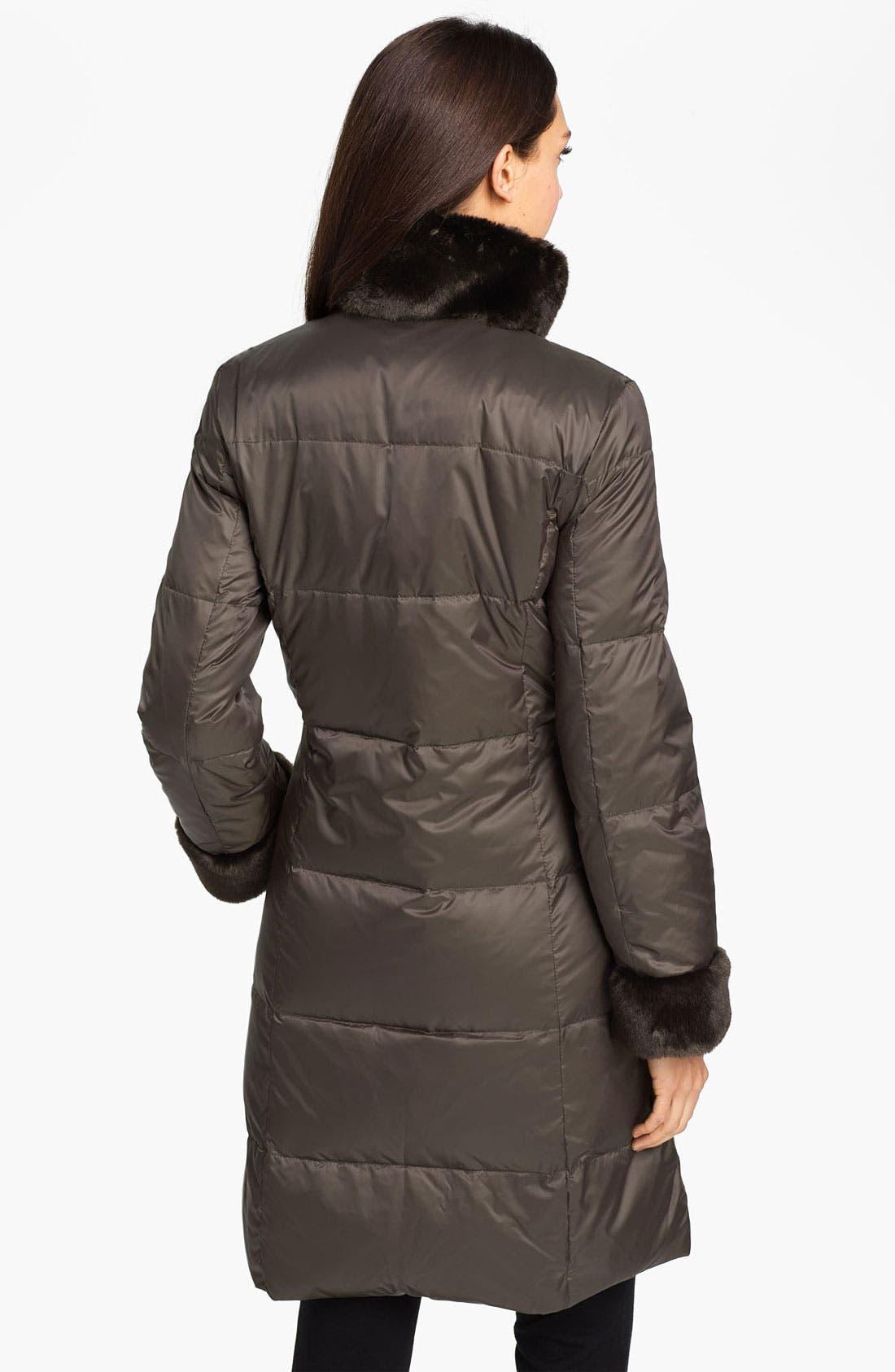 ELLEN TRACY,                             Faux Fur Trim Quilted Coat,                             Alternate thumbnail 2, color,                             200