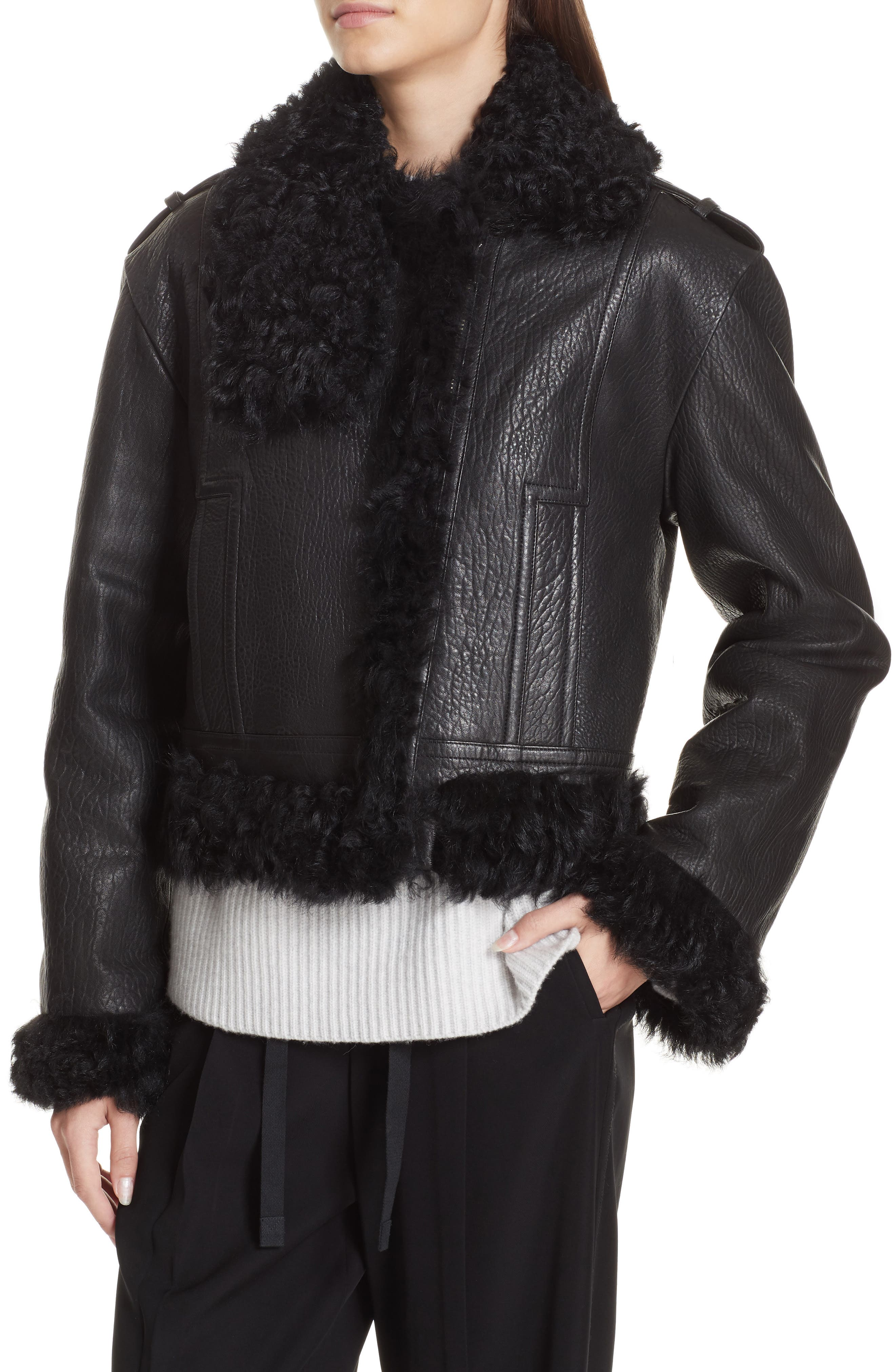 Leather & Genuine Shearling Moto Jacket,                             Alternate thumbnail 4, color,                             BLACK