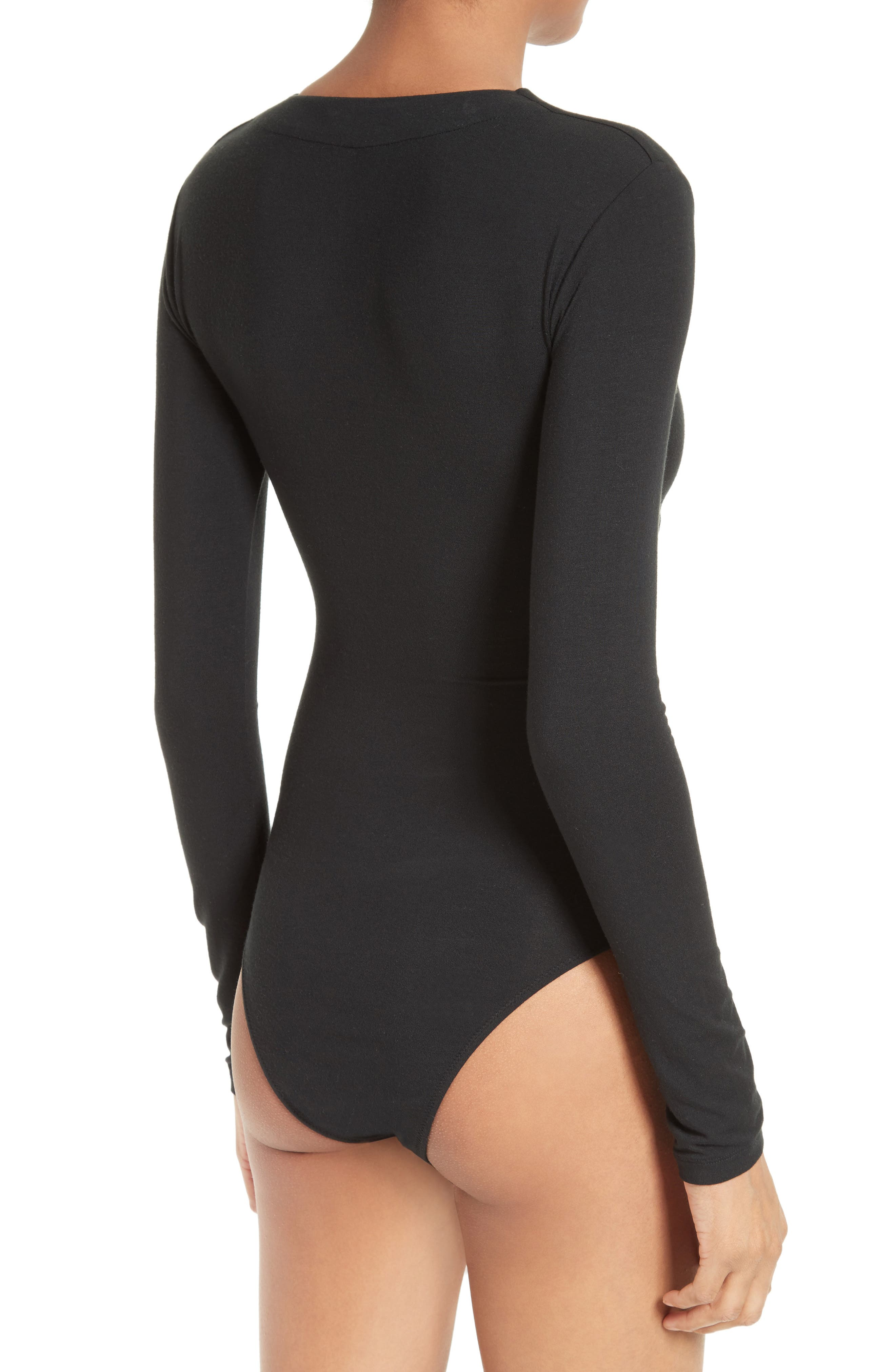 T by Alexander Wang Twist Front Bodysuit,                             Alternate thumbnail 4, color,                             001