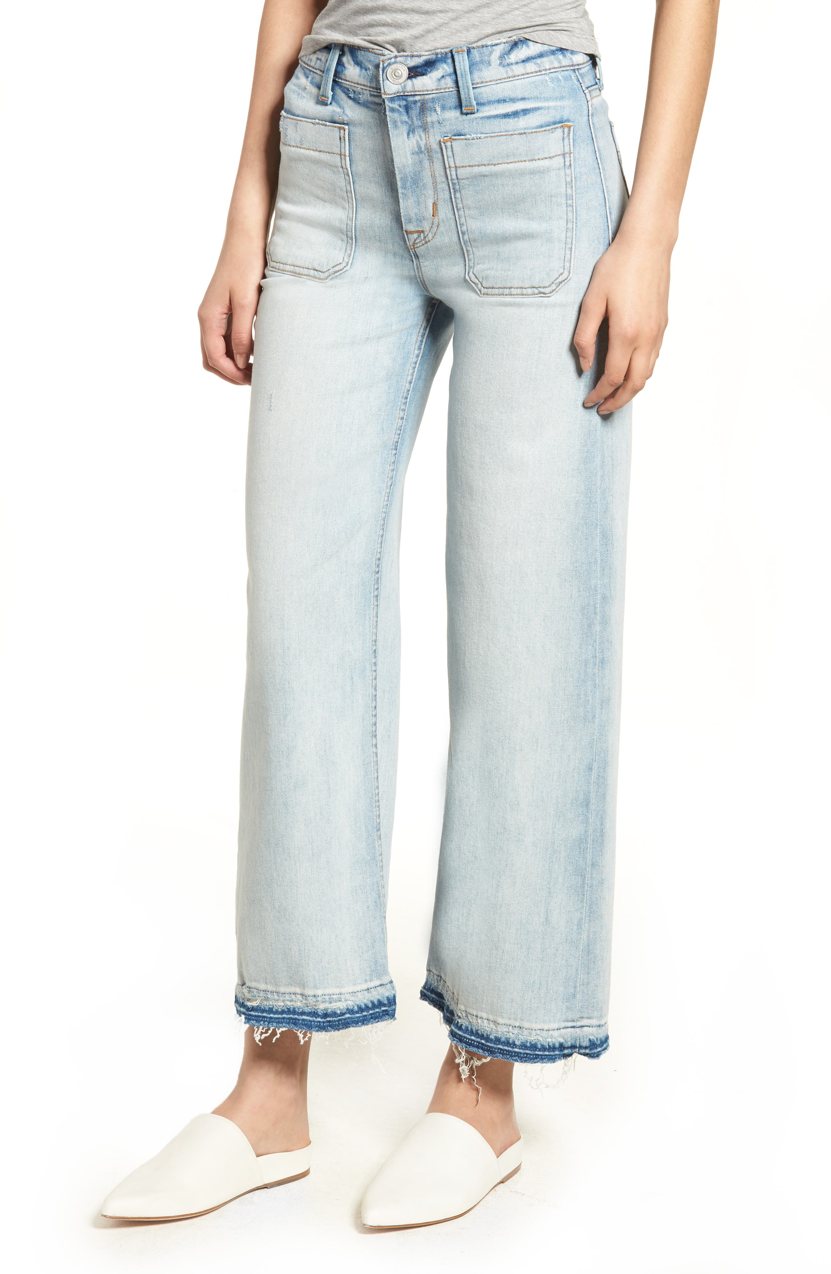Holly High Waist Released Hem Crop Wide Leg Jeans,                         Main,                         color, 460