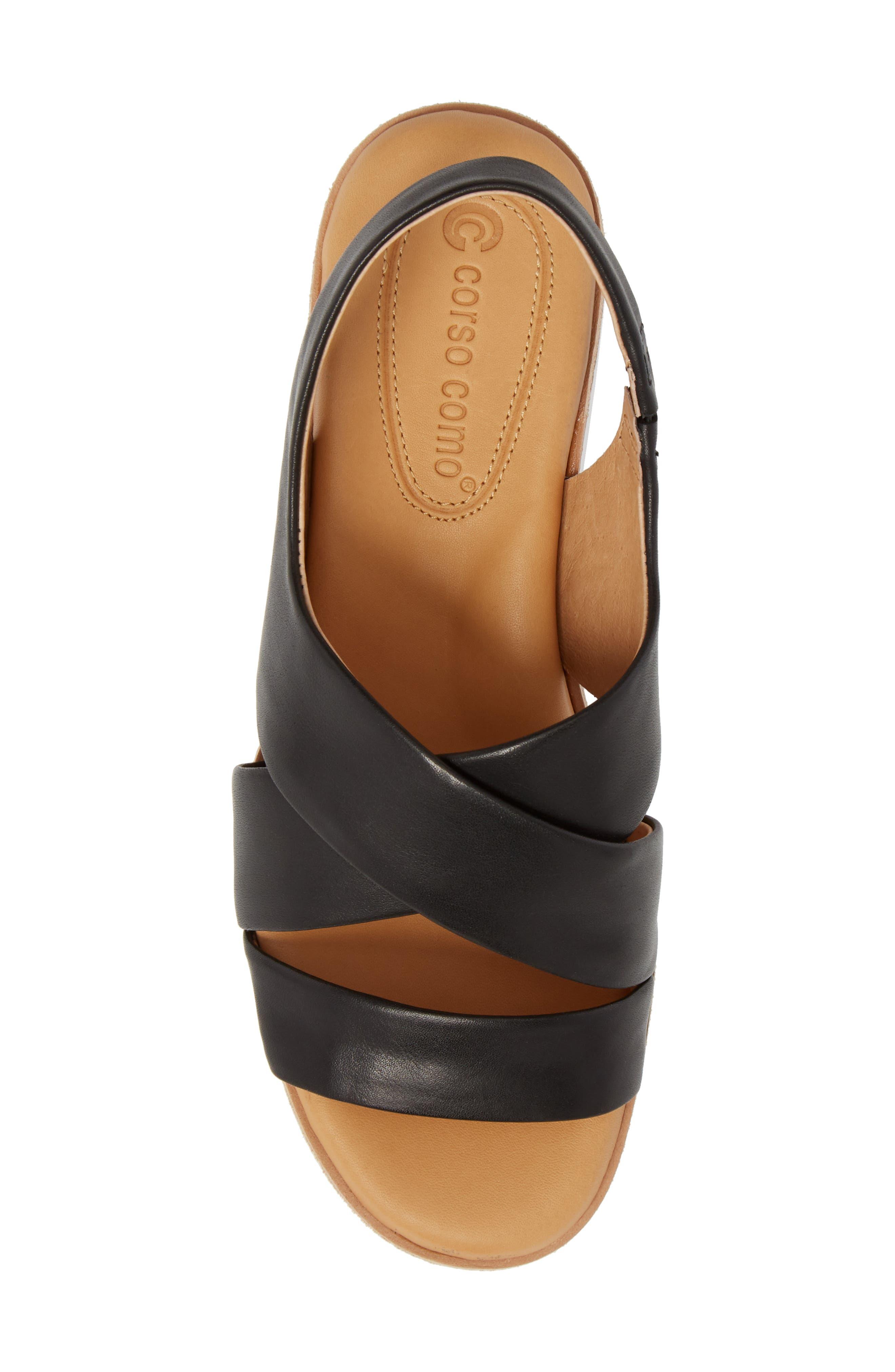 Brinney Wedge Sandal,                             Alternate thumbnail 5, color,                             BLACK LEATHER