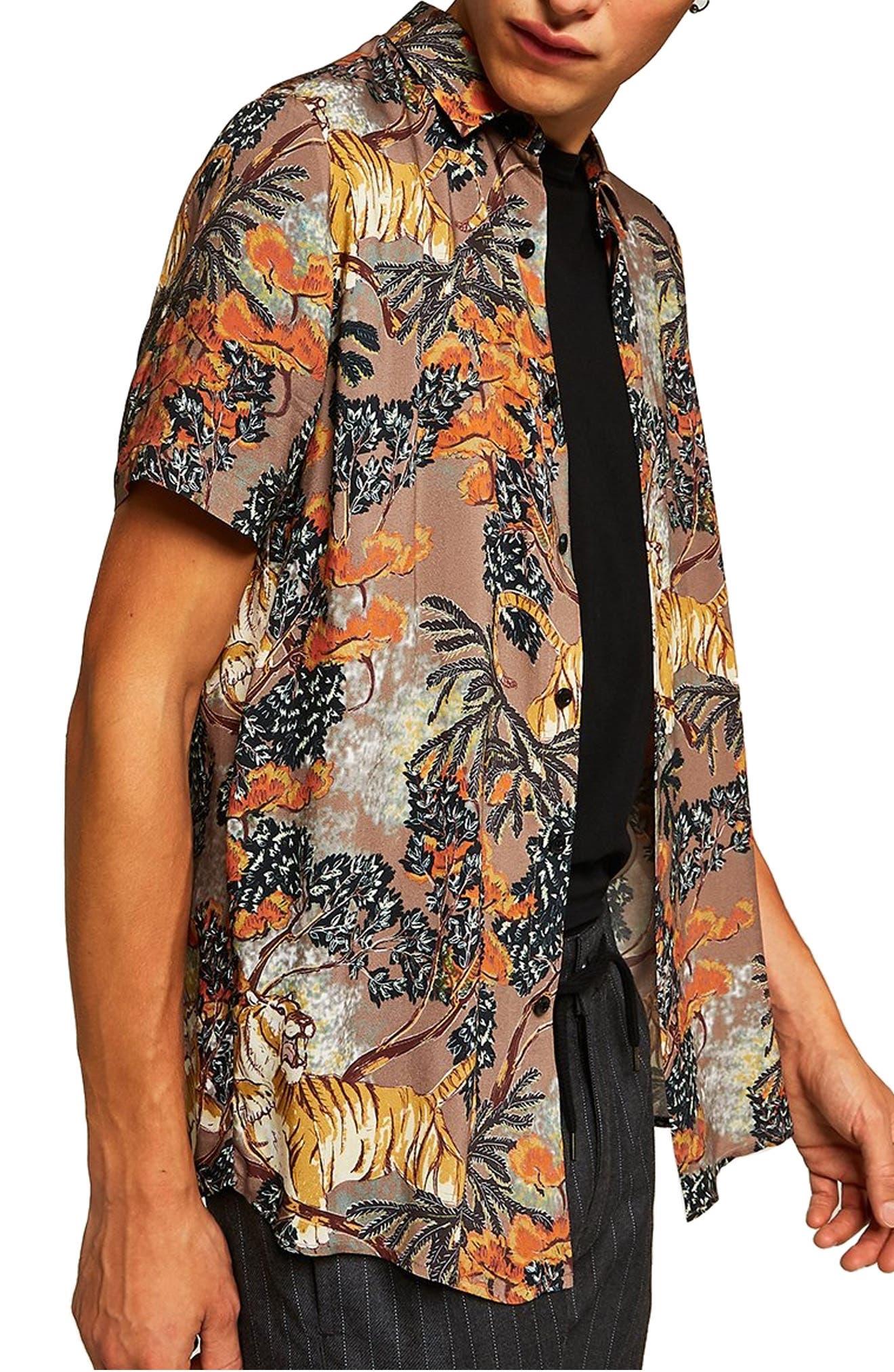 Suburb Tiger Print Shirt,                             Alternate thumbnail 4, color,                             ORANGE MULTI