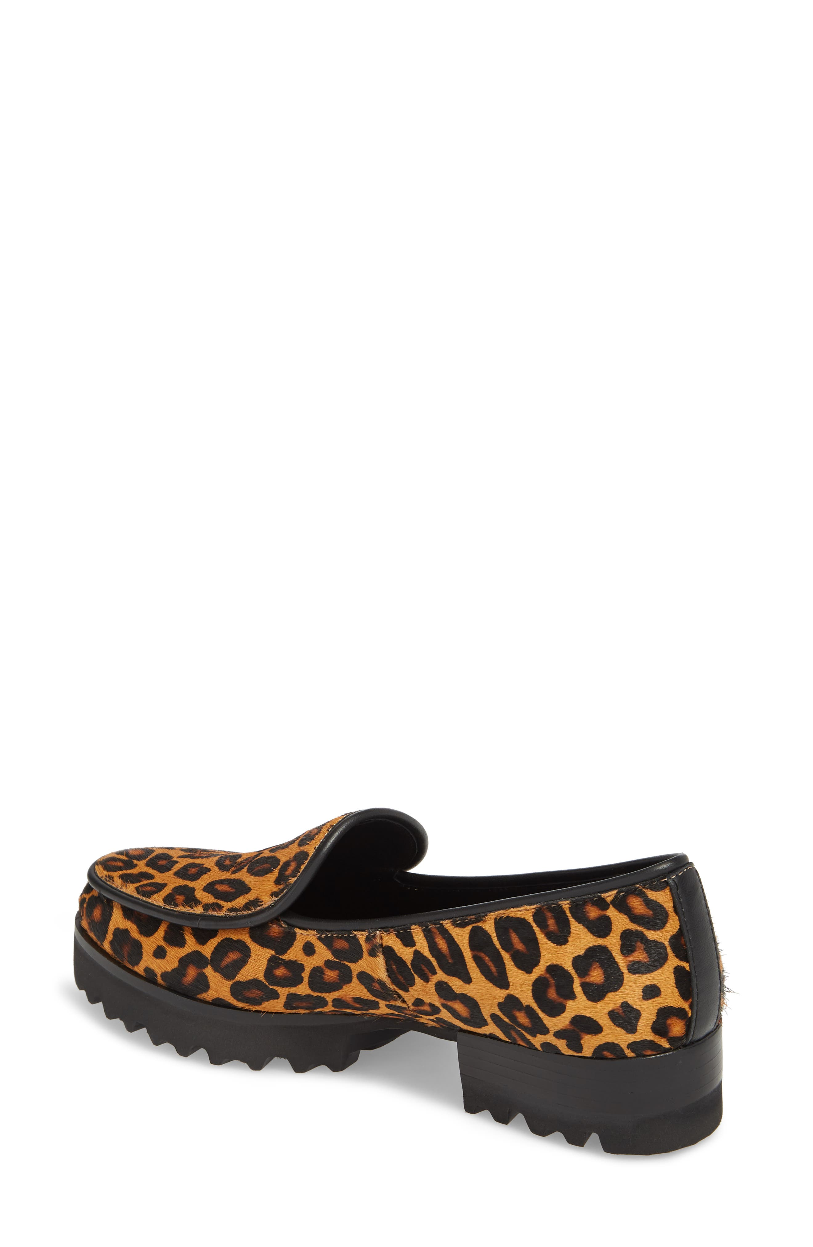 Enza Lug Sole Loafer,                             Alternate thumbnail 2, color,                             LEOPARD PRINT HAIRCALF