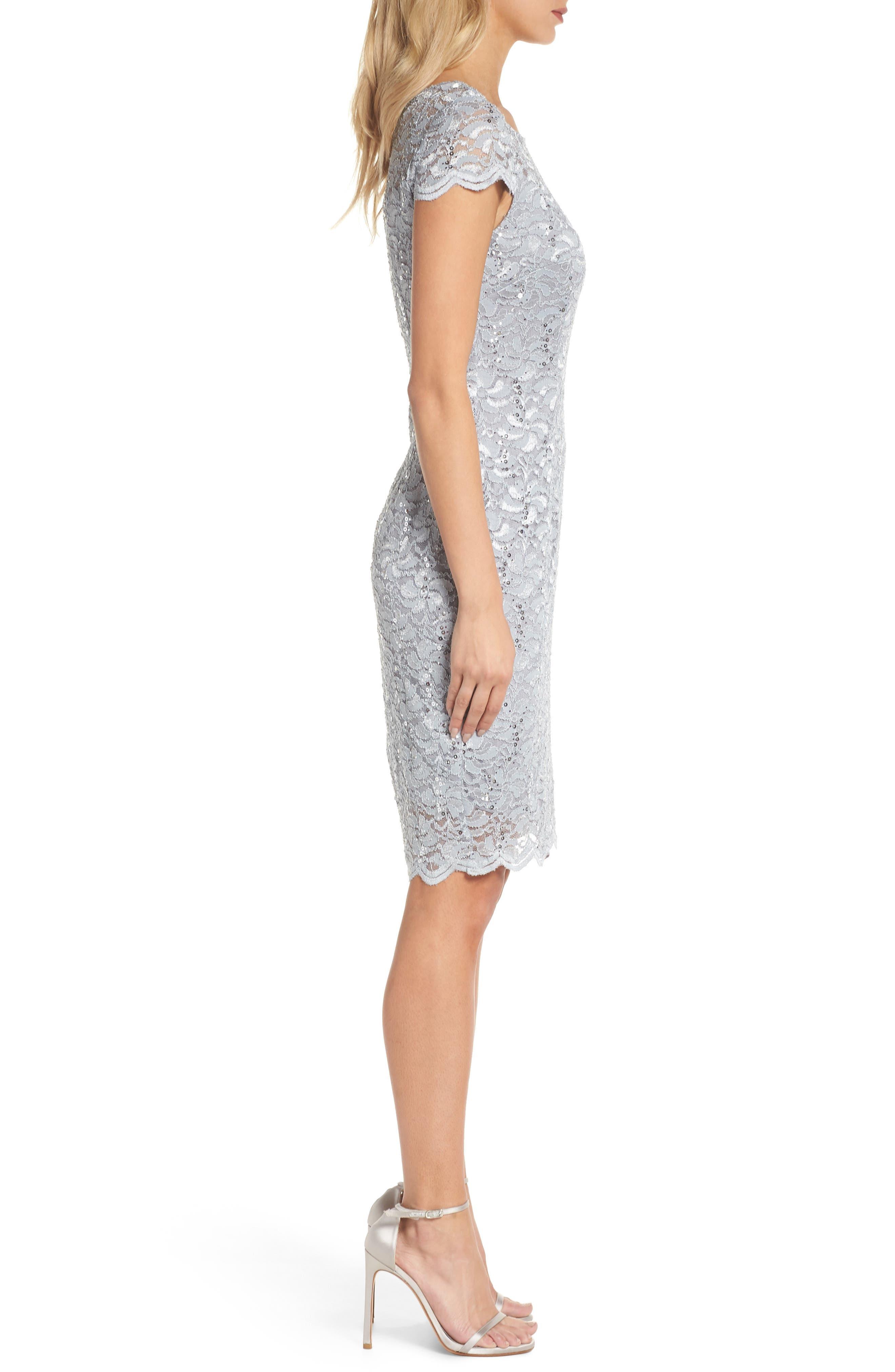 Lace Sheath Dress,                             Alternate thumbnail 3, color,                             050