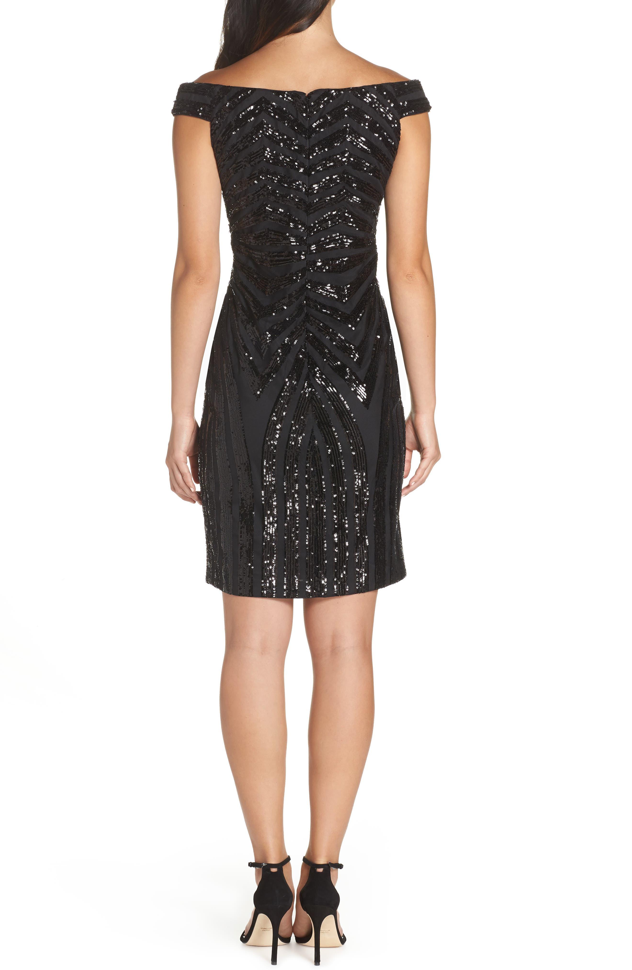Sequin Embellished Off the Shoulder Dress,                             Alternate thumbnail 2, color,                             BLACK