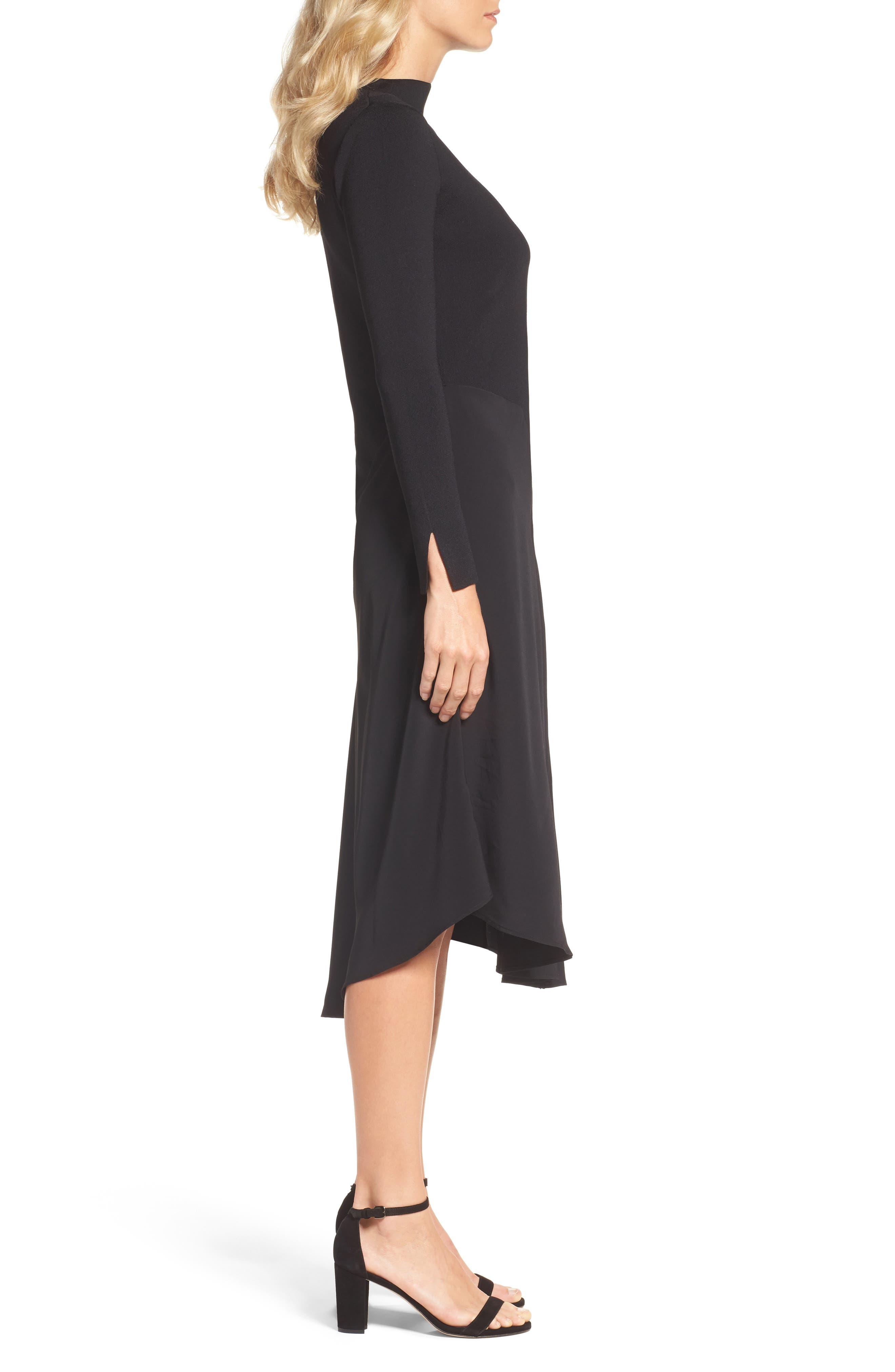 One-Shoulder Midi Dress,                             Alternate thumbnail 3, color,                             004