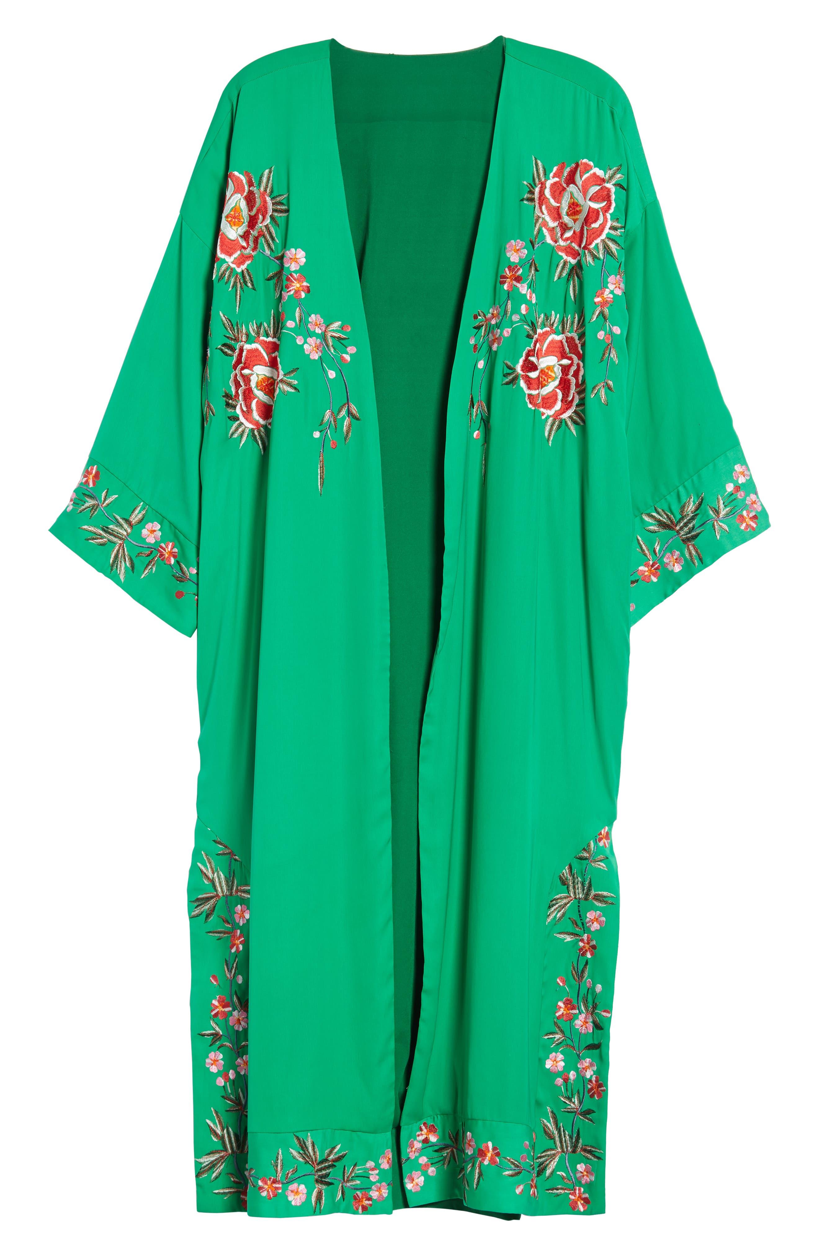 Floral Kimono,                             Alternate thumbnail 6, color,                             GREEN MULTI