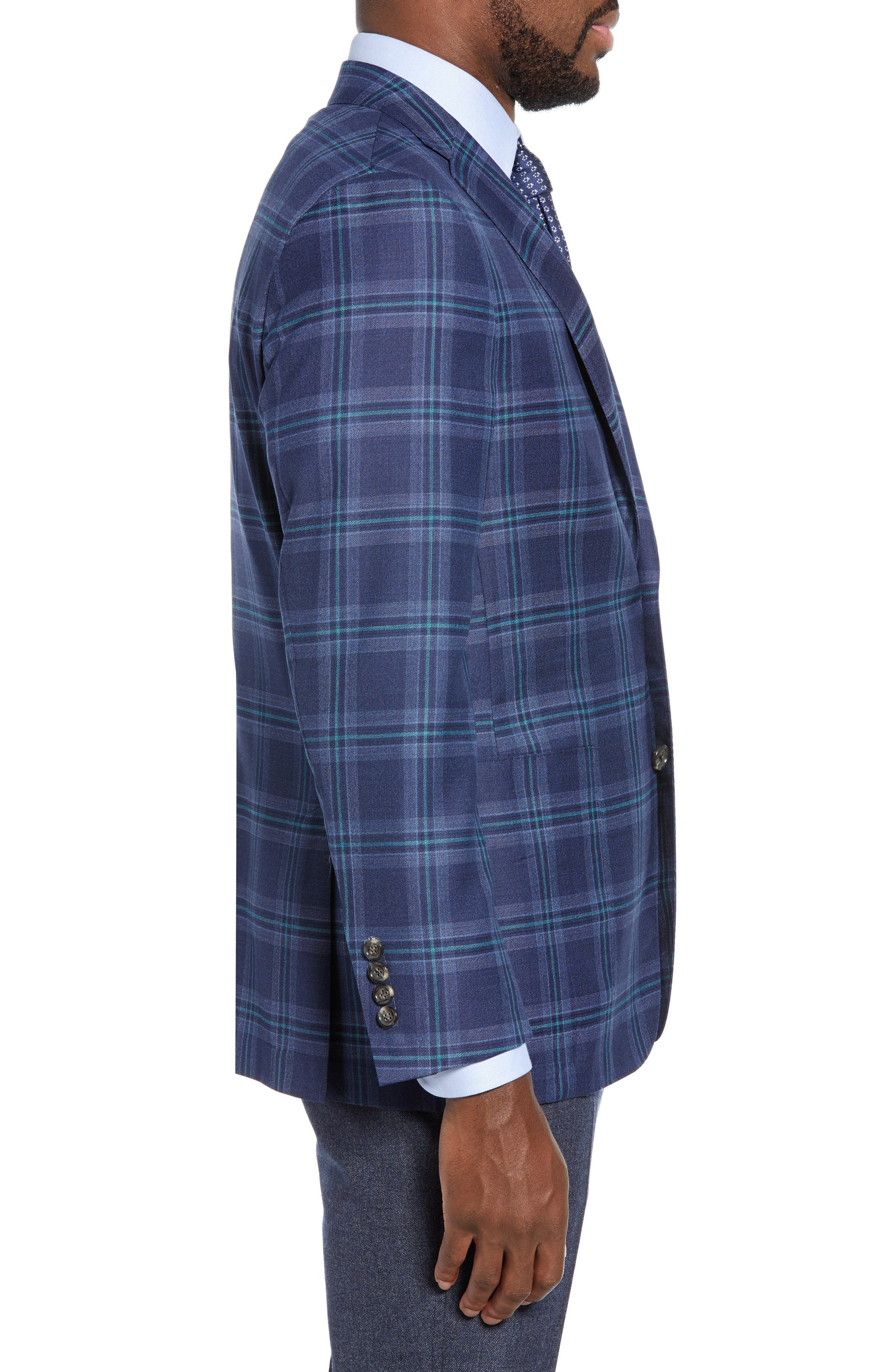 Classic B Fit Plaid Wool Sport Coat,                             Alternate thumbnail 3, color,                             BLUE
