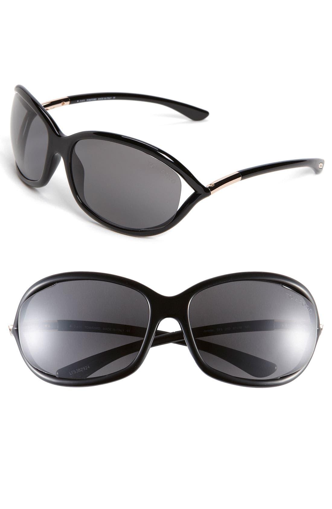 Jennifer 61mm Polarized Open Temple Sunglasses,                             Main thumbnail 1, color,                             SHINY BLACK/ GREY POLARIZED