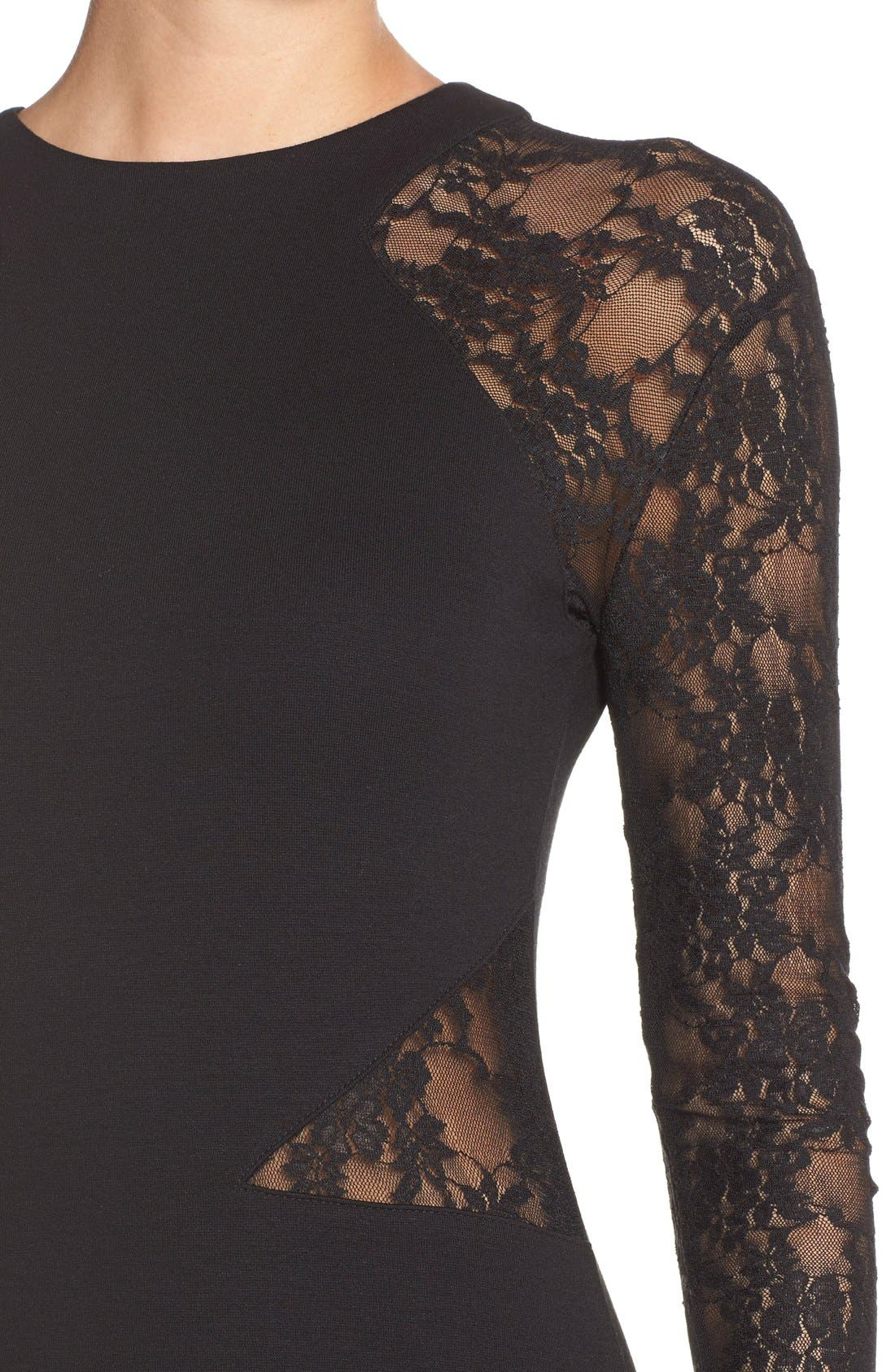 'Viven' Lace & Jersey Sheath Dress,                             Alternate thumbnail 4, color,                             001