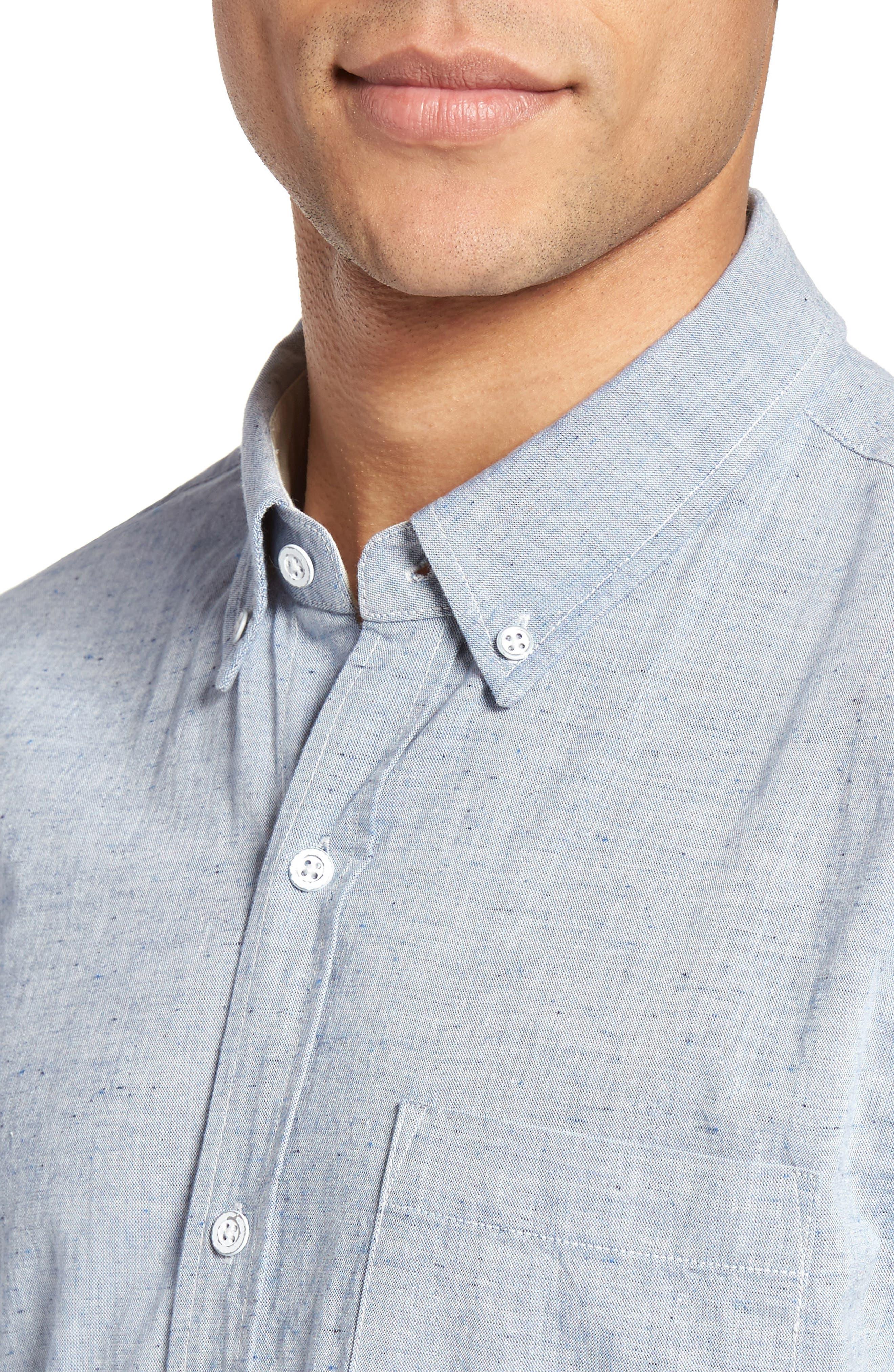 Nash Slub Cotton Shirt,                             Alternate thumbnail 4, color,                             408