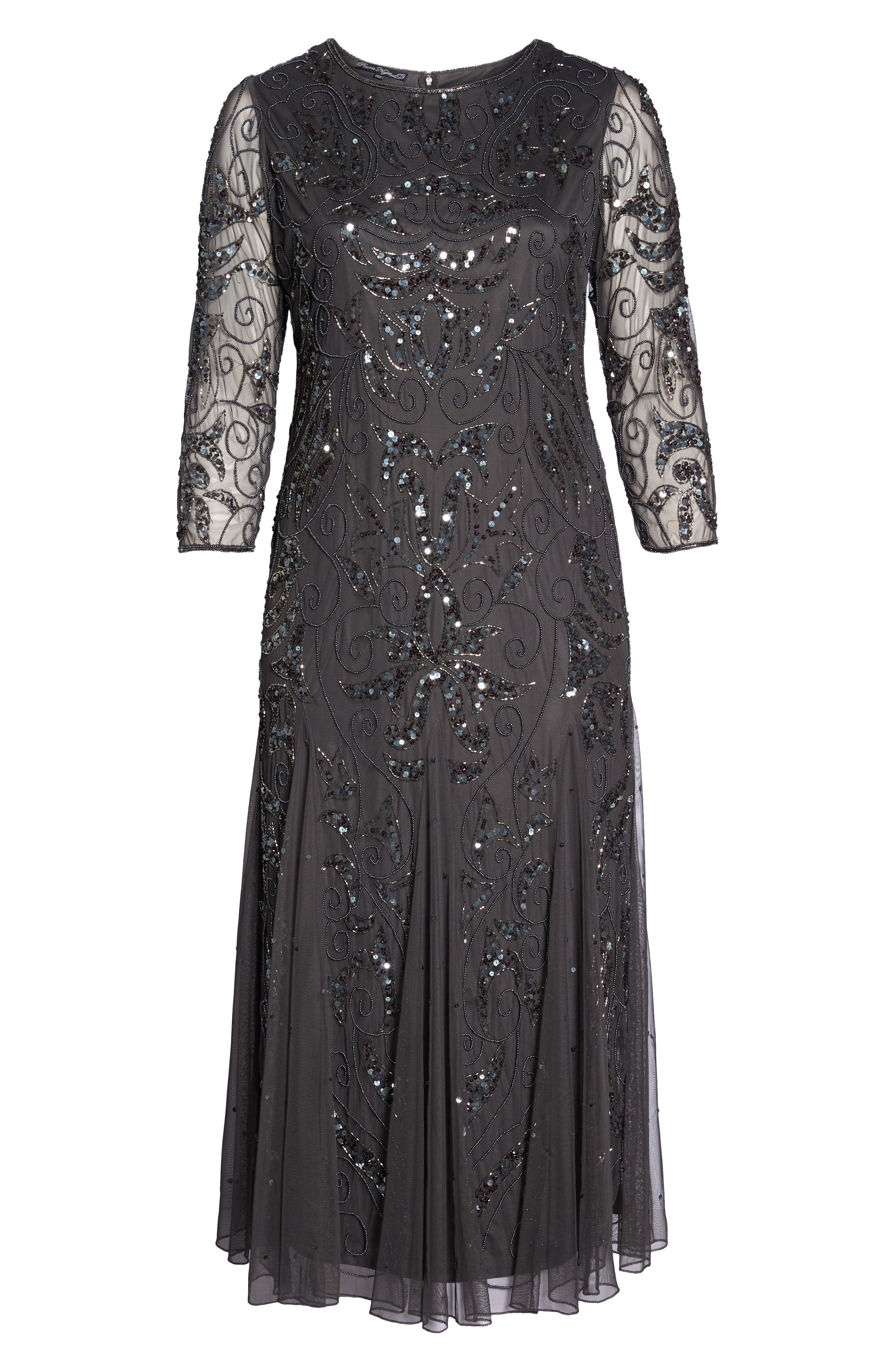 Embellished Three Quarter Sleeve Gown,                             Alternate thumbnail 7, color,                             NEW ASH