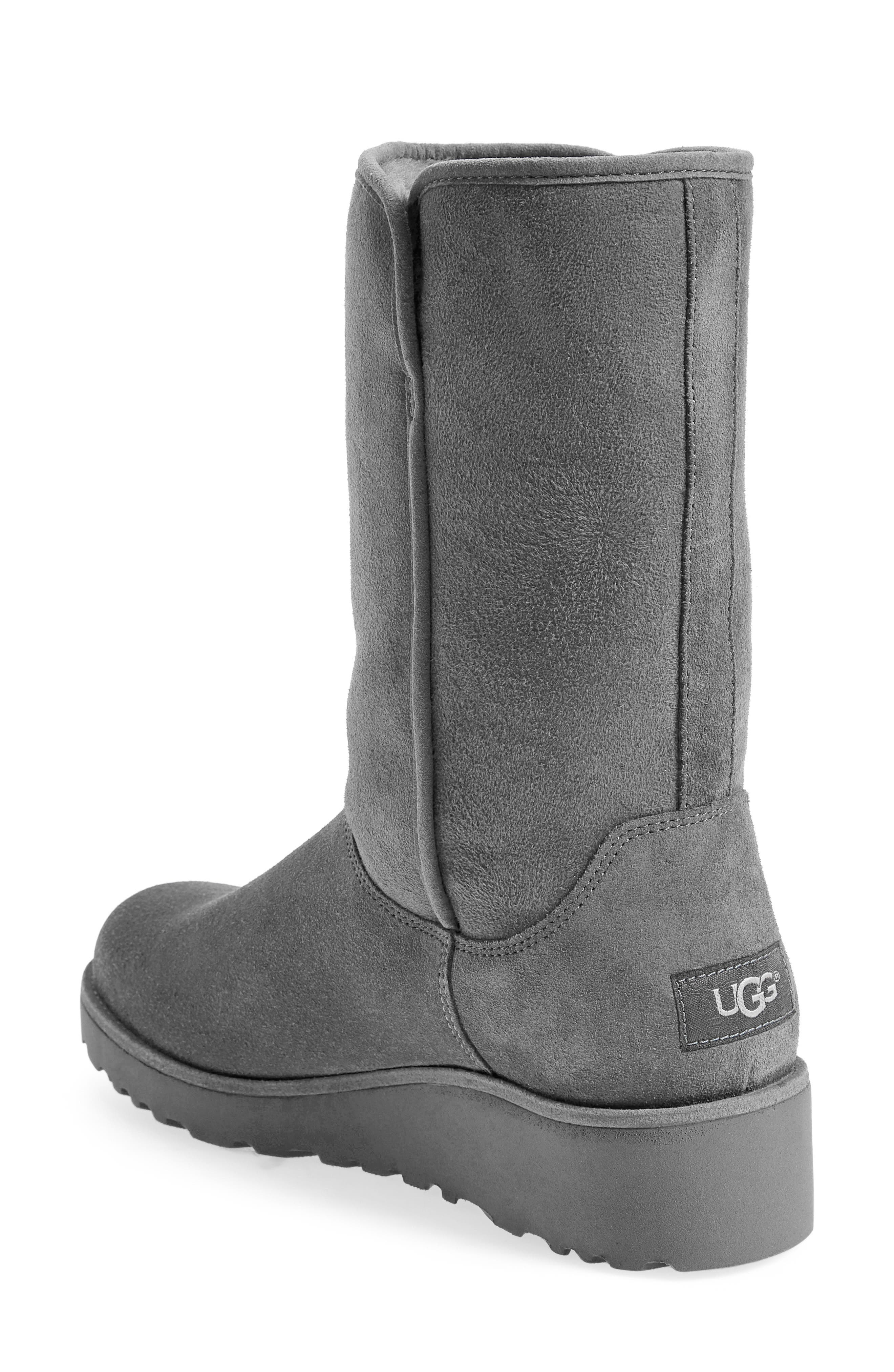Amie - Classic Slim<sup>™</sup> Water Resistant Short Boot,                             Alternate thumbnail 3, color,                             GREY SUEDE