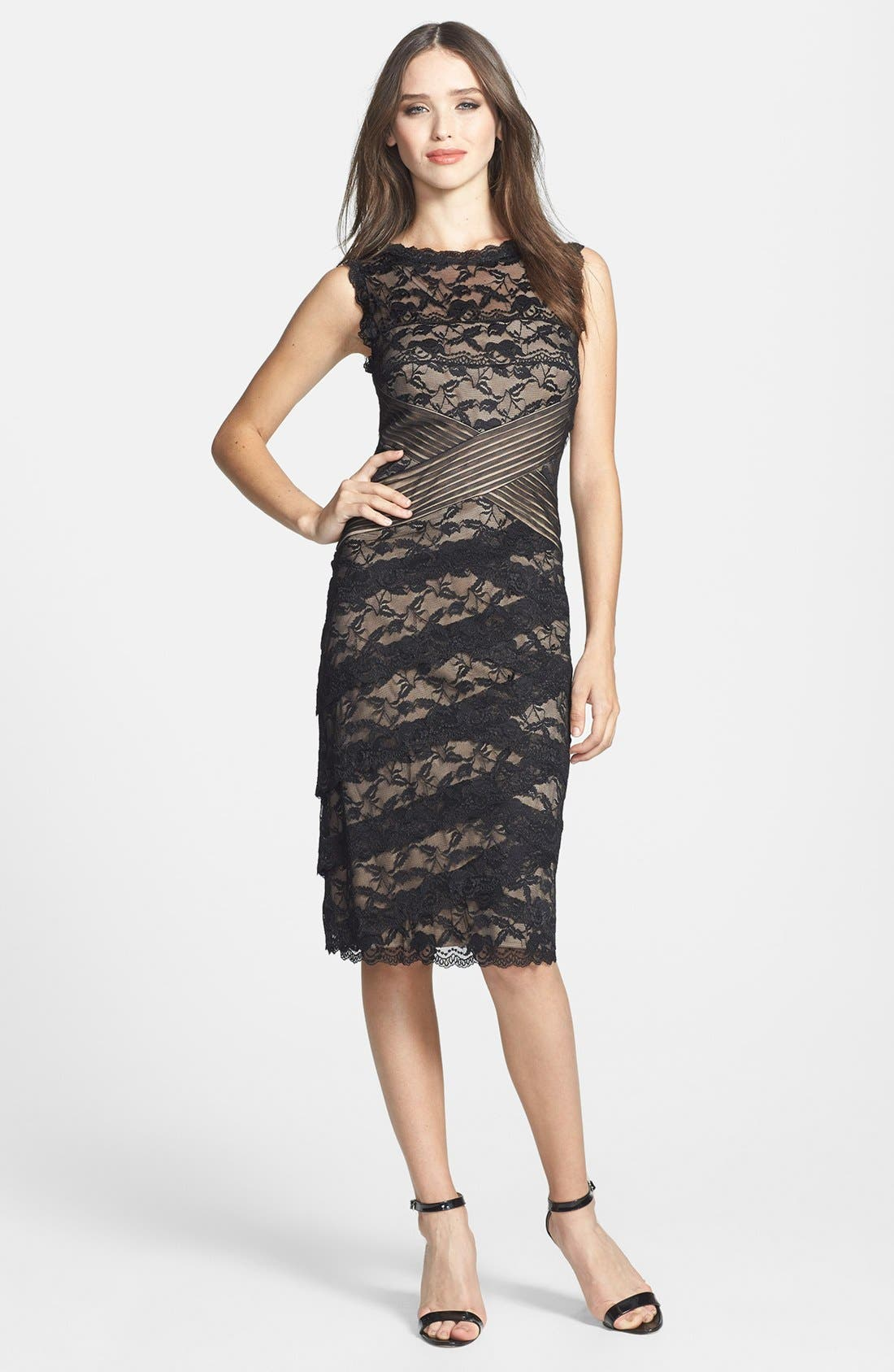 MARINA,                             Pleat Mesh & Tiered Lace Sheath Dress,                             Alternate thumbnail 4, color,                             003