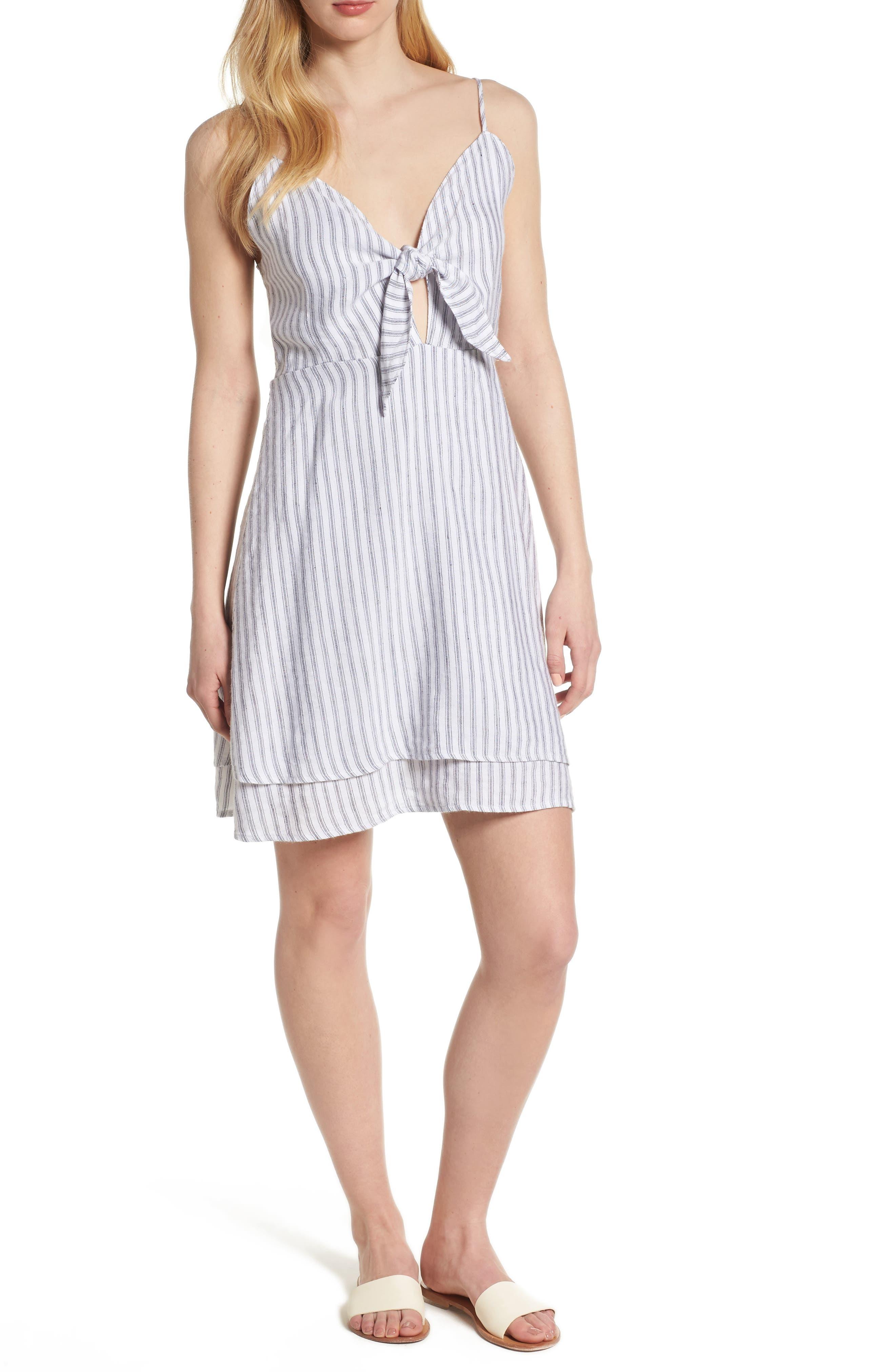 August Stripe Tie Front Dress,                             Main thumbnail 1, color,                             CANELA STRIPE