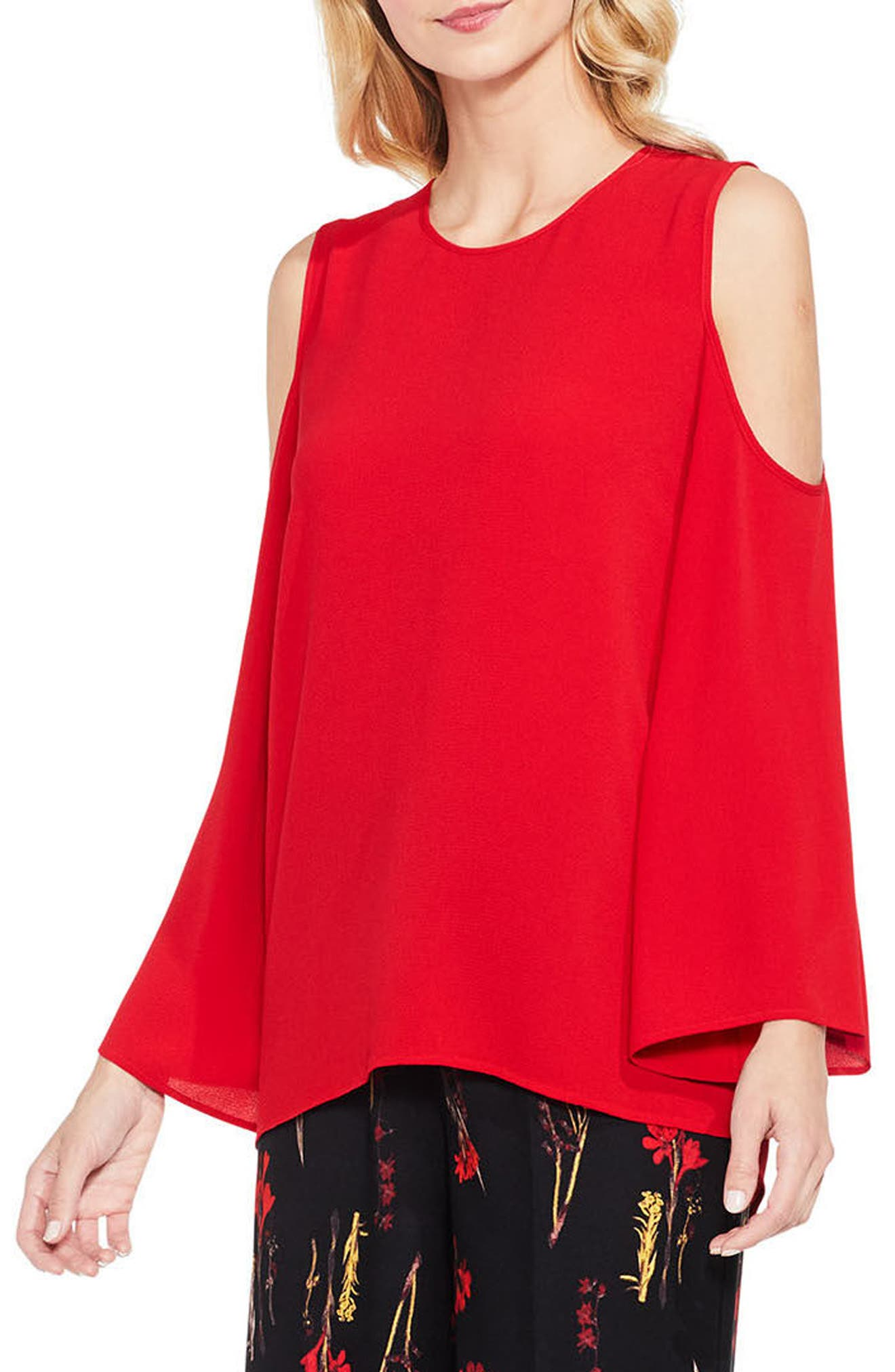 Bell Sleeve Cold Shoulder Blouse,                             Main thumbnail 5, color,
