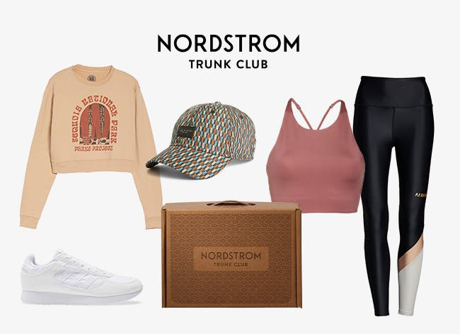 A women's outfit with a sweatshirt, top, leggings, baseball cap and sneakers.