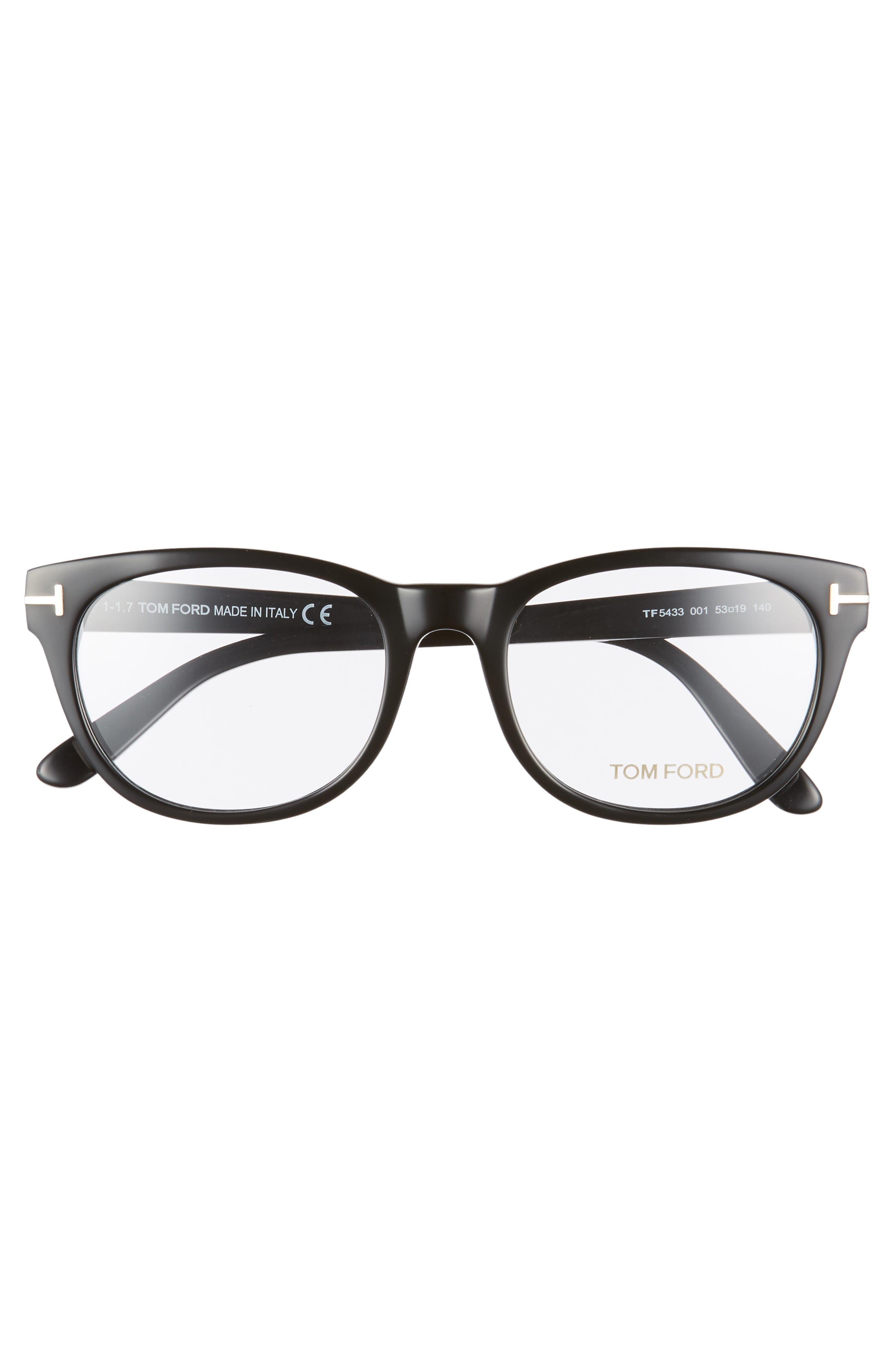 53mm Optical Glasses,                             Alternate thumbnail 3, color,                             SHINY BLACK