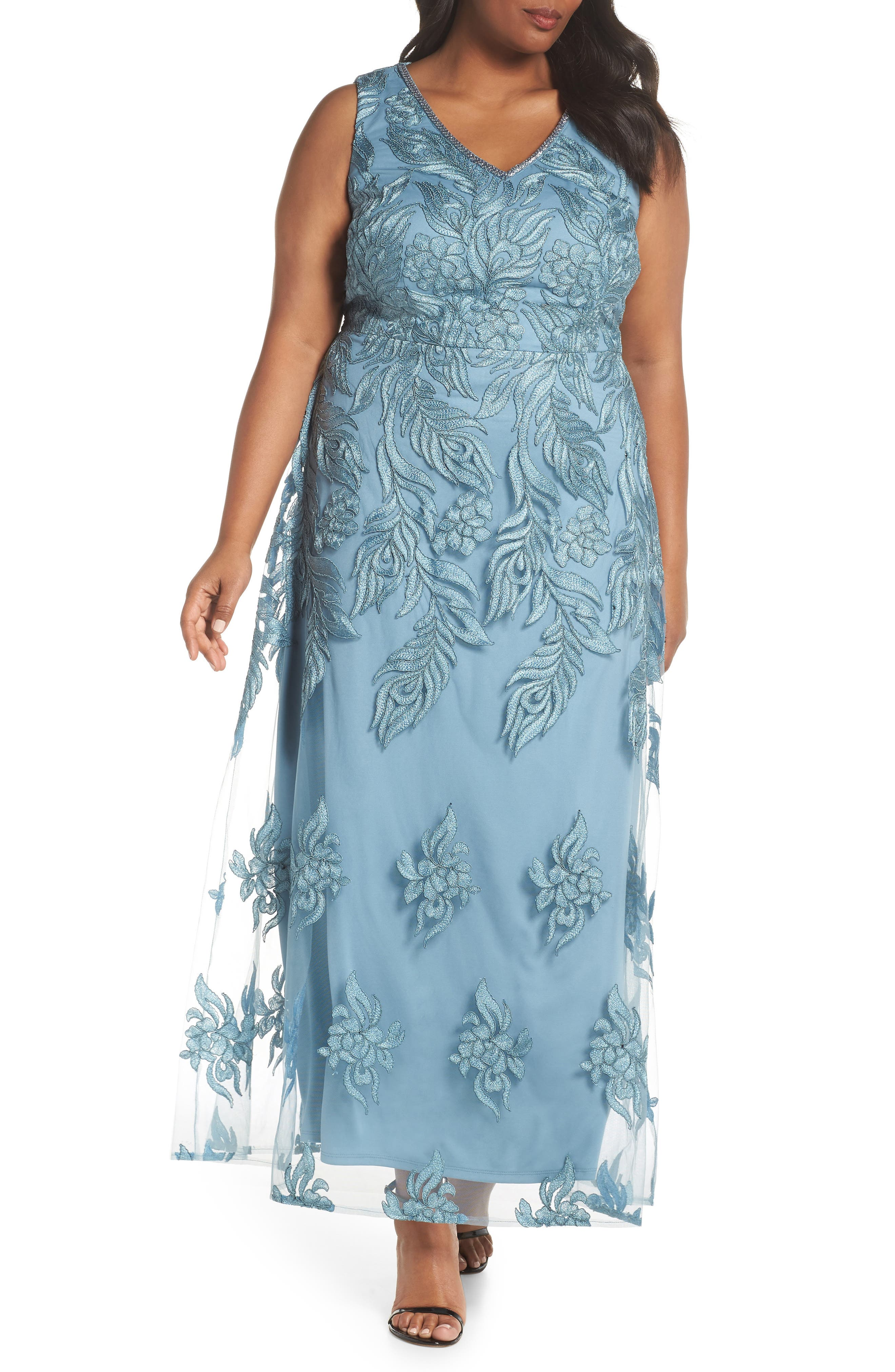 Beaded V-Neck Embroidered Mesh Gown,                         Main,                         color, SEABREEZE