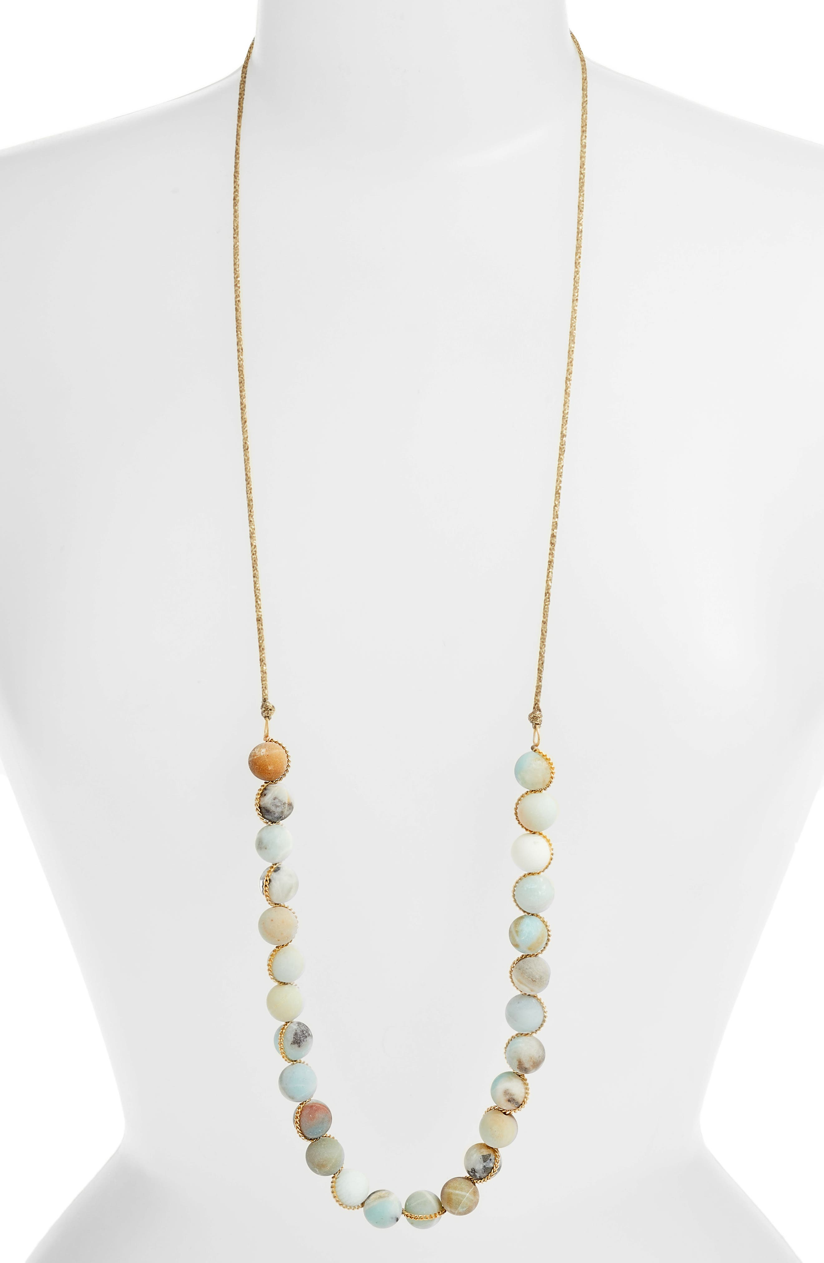 Matte Multicolor Amazonite Adjustable Necklace,                             Alternate thumbnail 2, color,                             MATTE MULTI