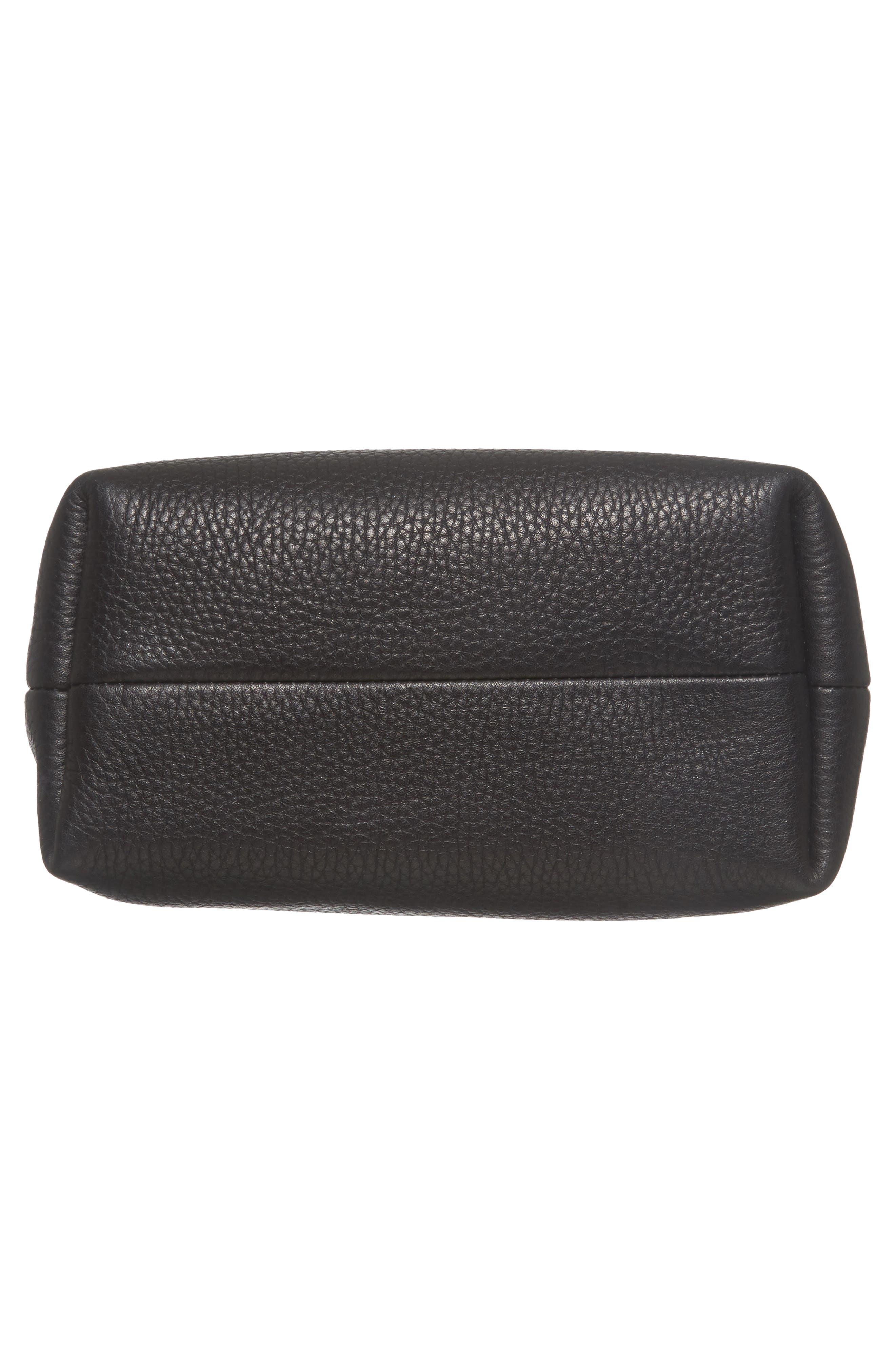 Mini Pebbled Leather Drawstring Crossbody Bag,                             Alternate thumbnail 6, color,                             001