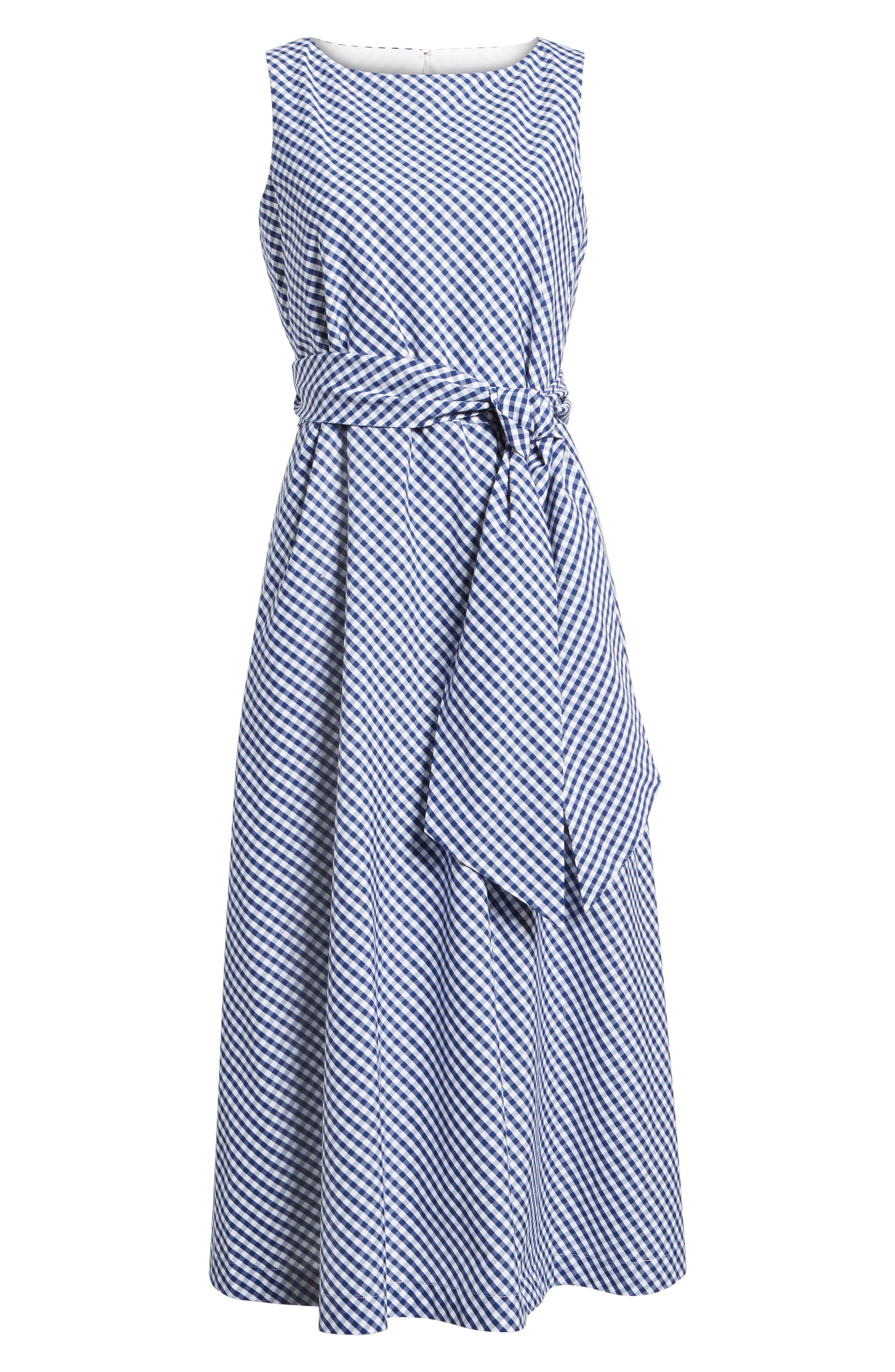Cotton Gingham Midi Dress,                             Alternate thumbnail 6, color,                             400