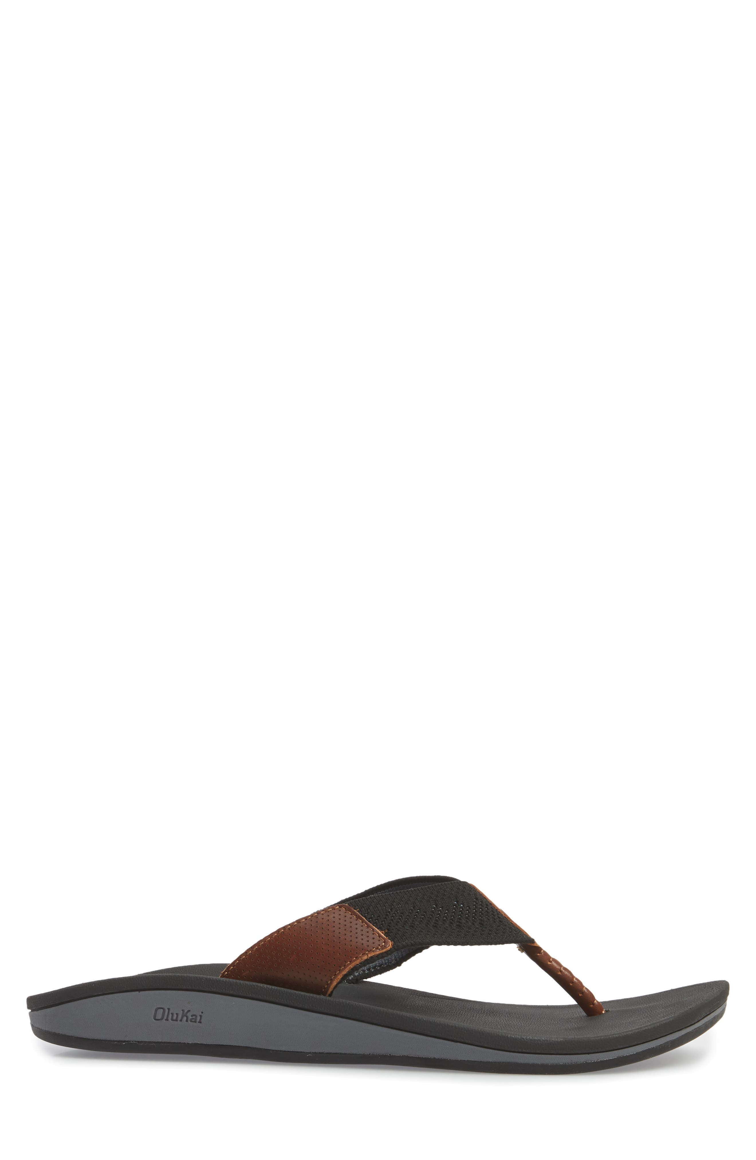 Nohona Ulana Flip Flop,                             Alternate thumbnail 3, color,                             BLACK/ BLACK LEATHER