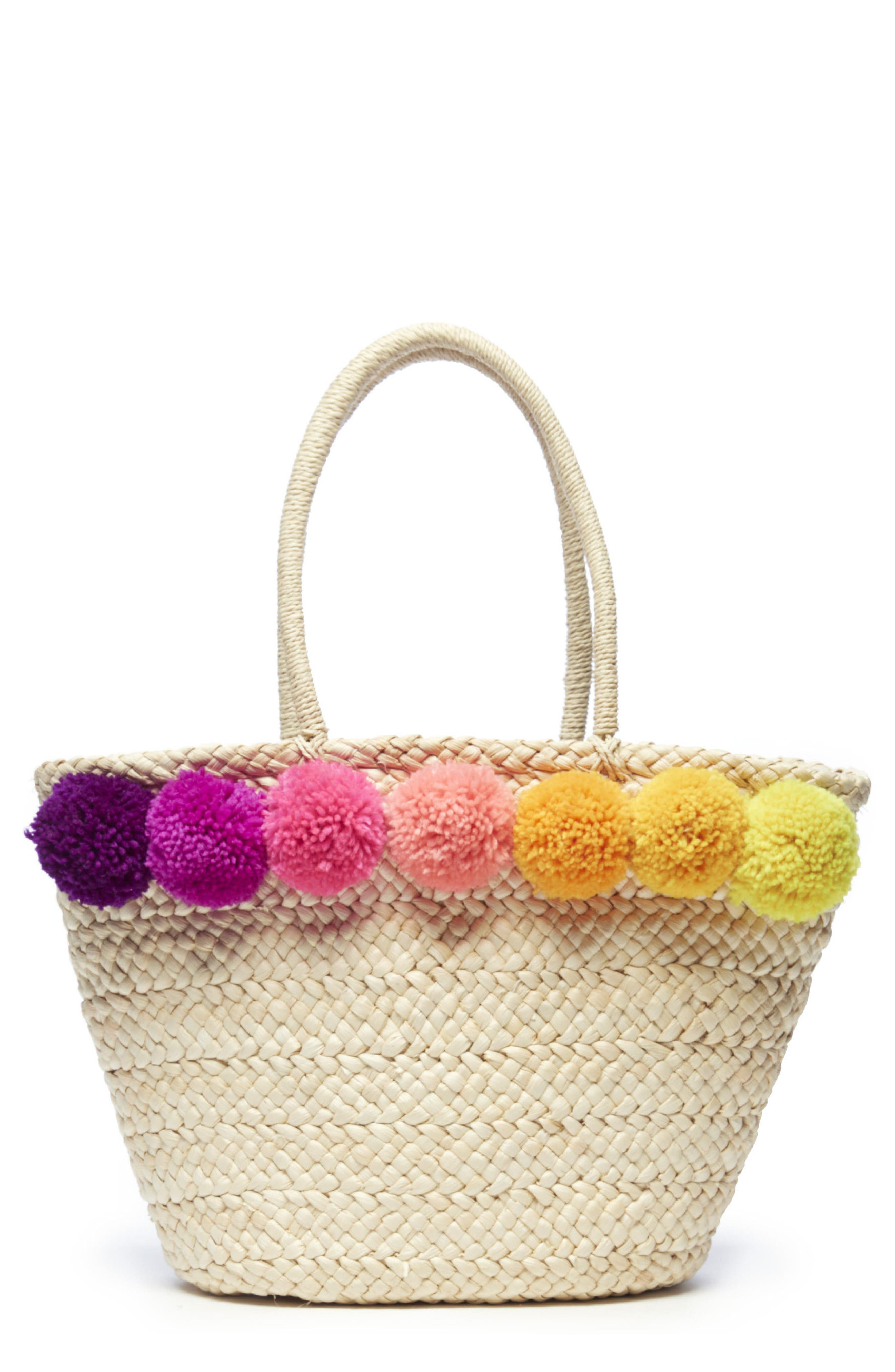 Straw Tote,                         Main,                         color, NATURAL