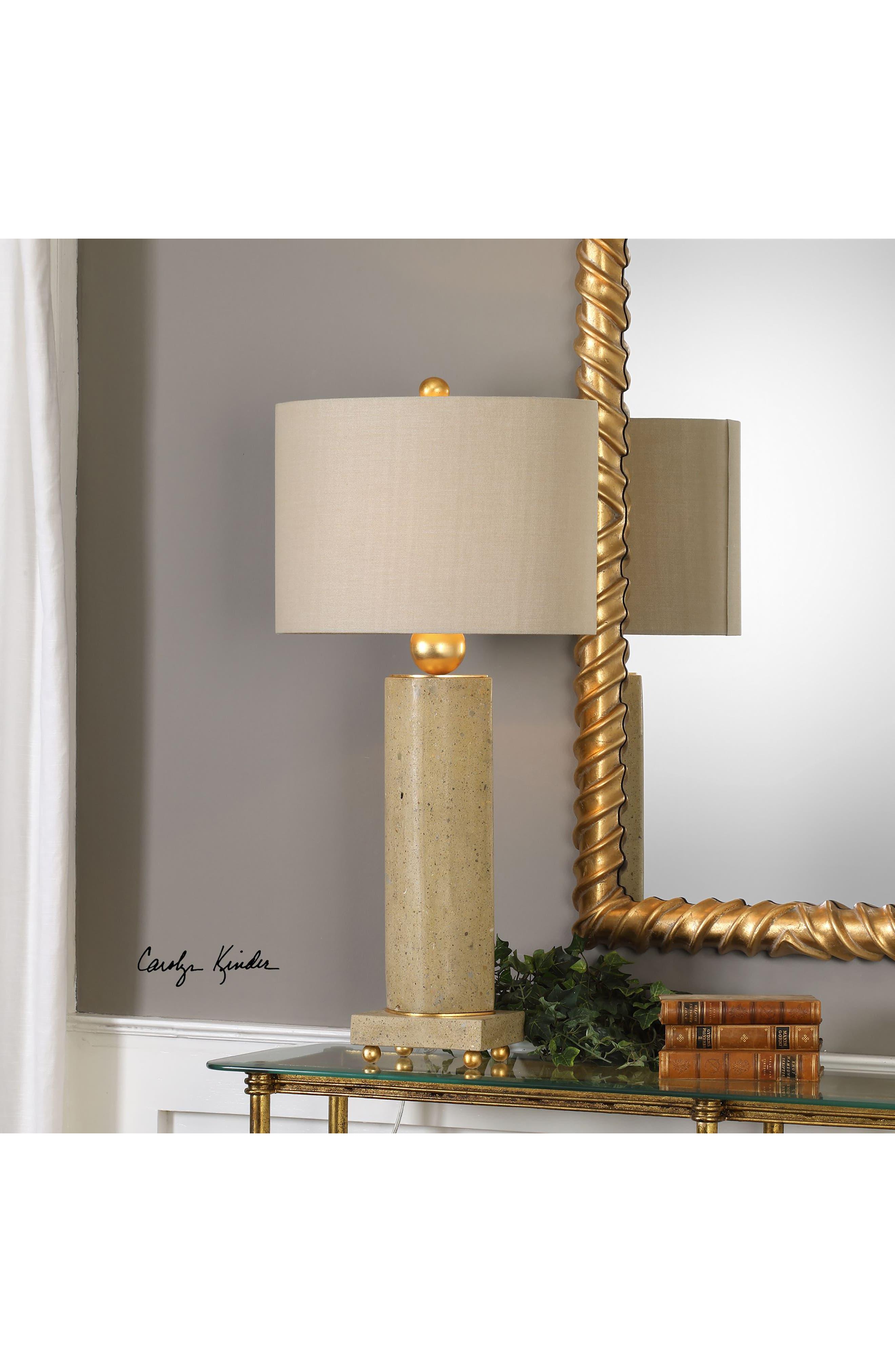 Krisel Oval Column Lamp,                             Alternate thumbnail 3, color,                             STEEL W GOLD LEAF/ BEIGE SHADE