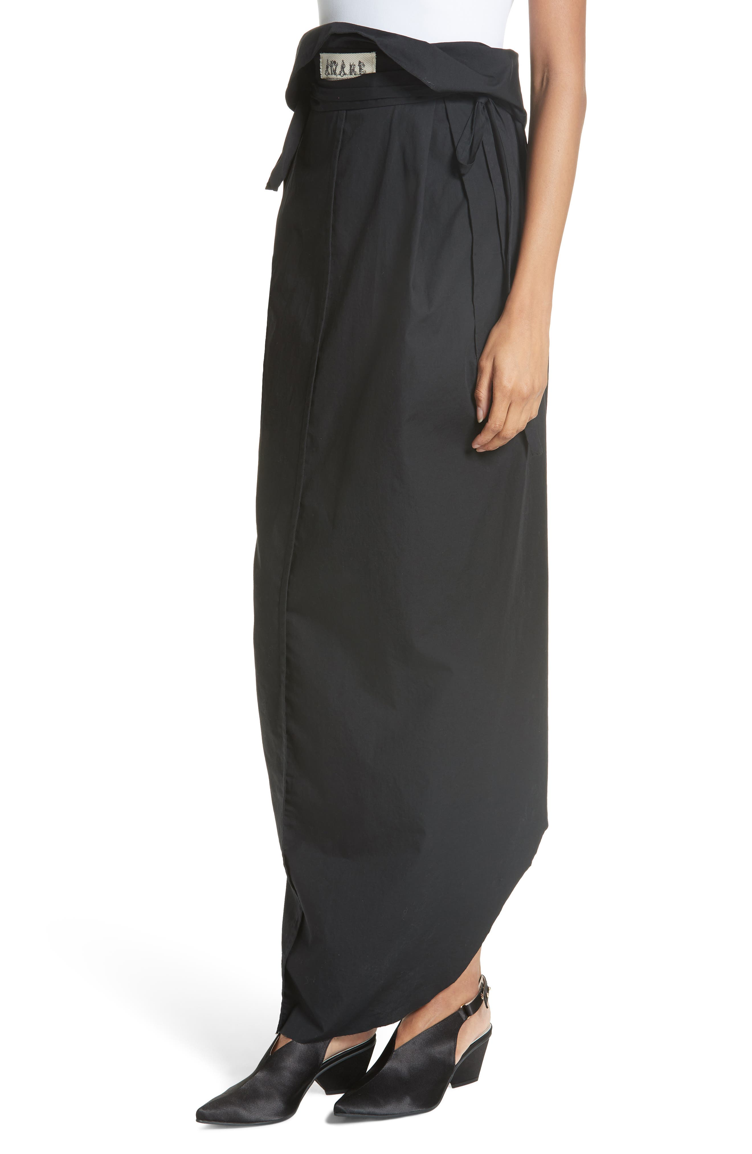 High Waist Wrap Skirt,                             Alternate thumbnail 4, color,                             001