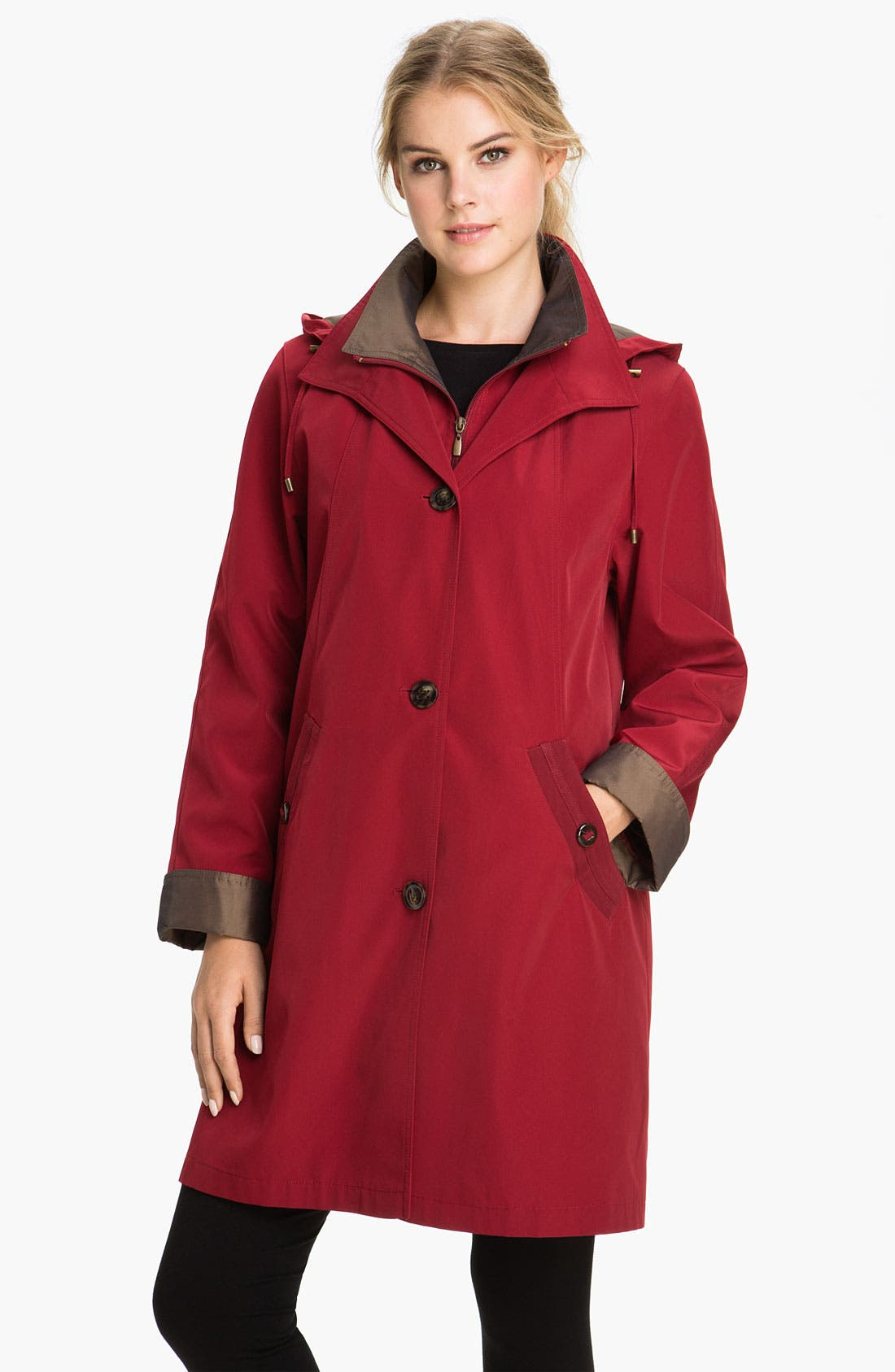 A-Line Raincoat with Detachable Hood & Liner,                             Main thumbnail 5, color,