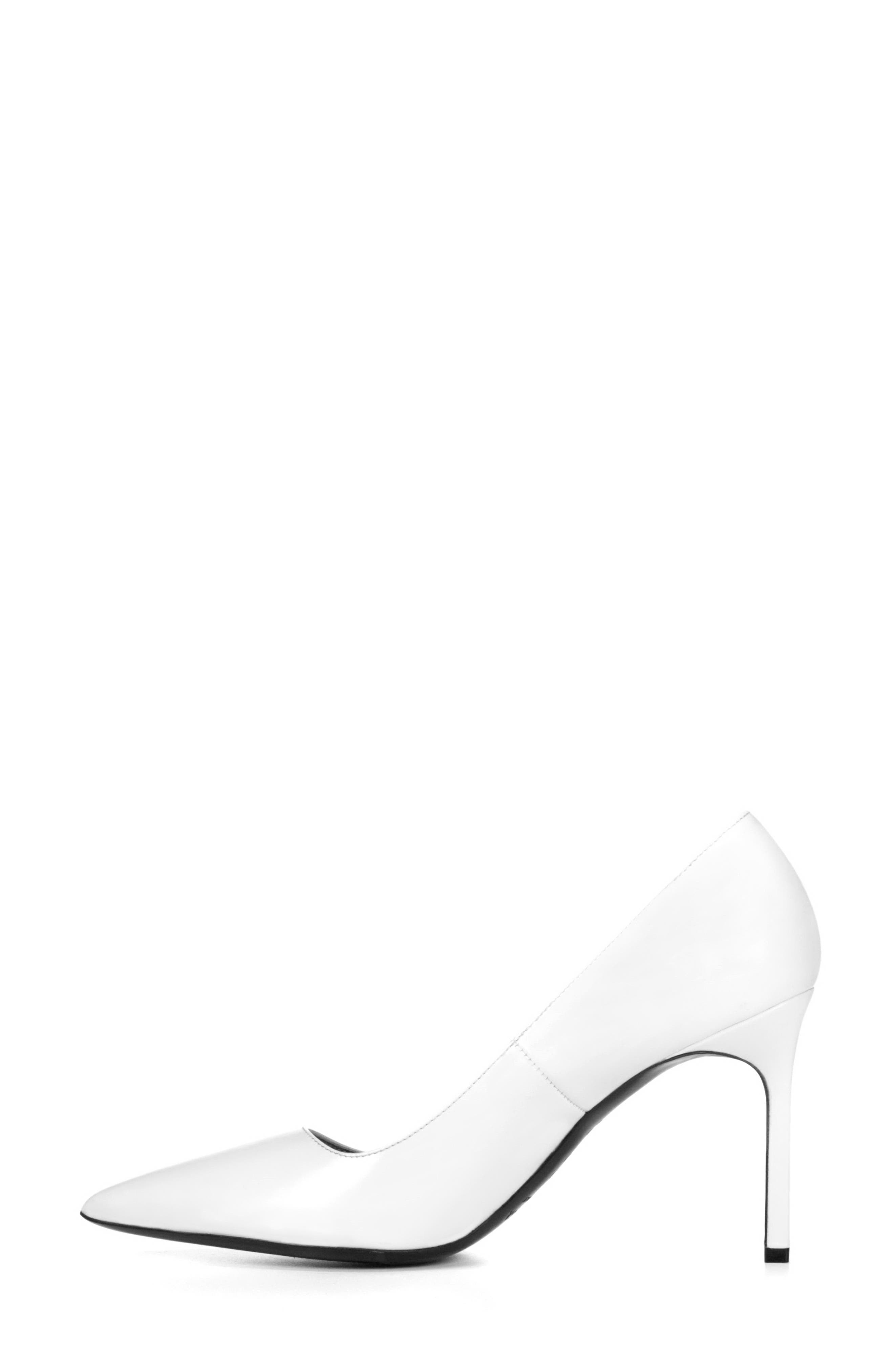 Nikole Pointy Toe Pump,                             Alternate thumbnail 3, color,                             WHITE LEATHER