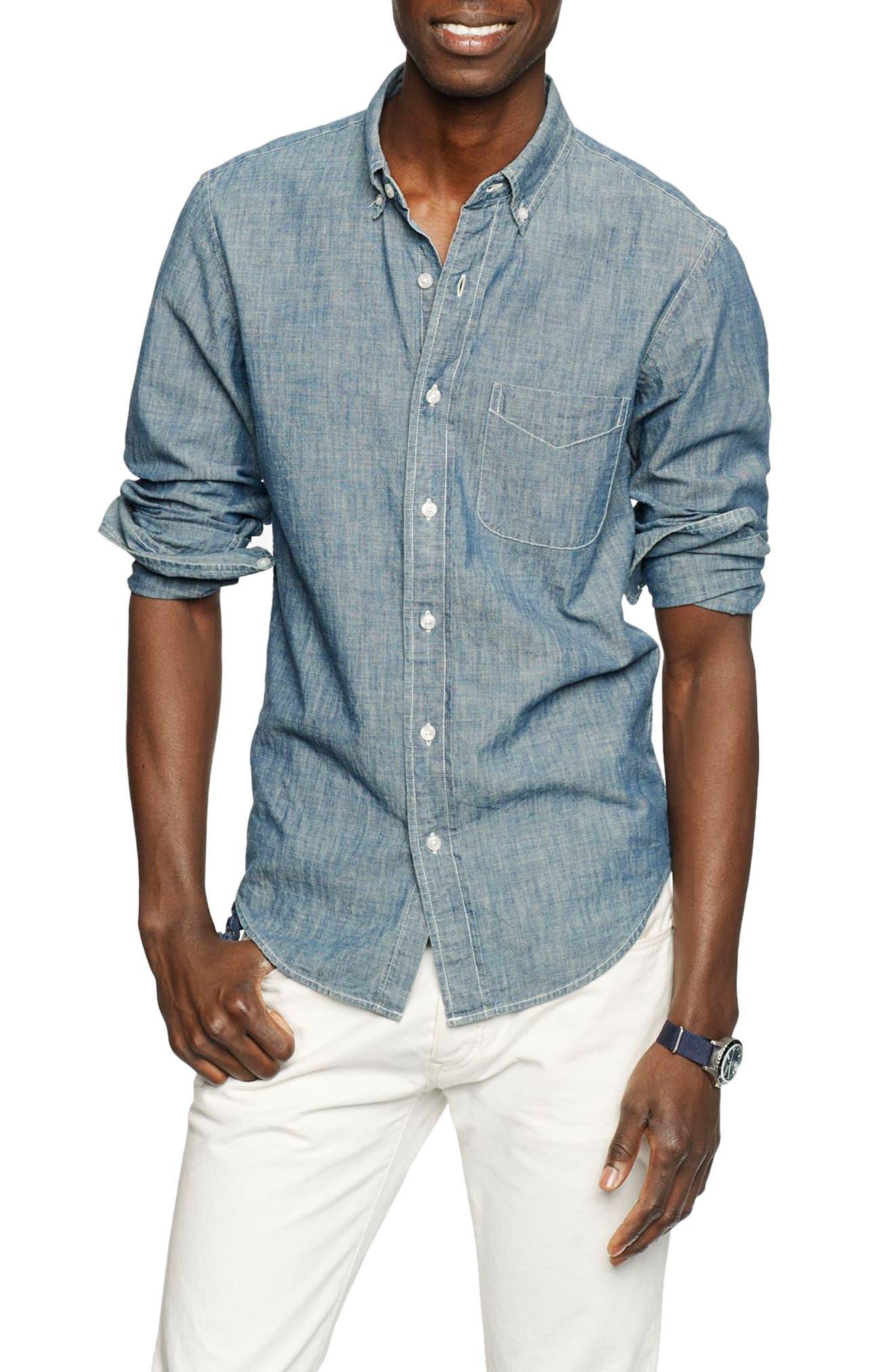 Slim Fit Indigo Chambray Sport Shirt,                             Main thumbnail 1, color,                             400