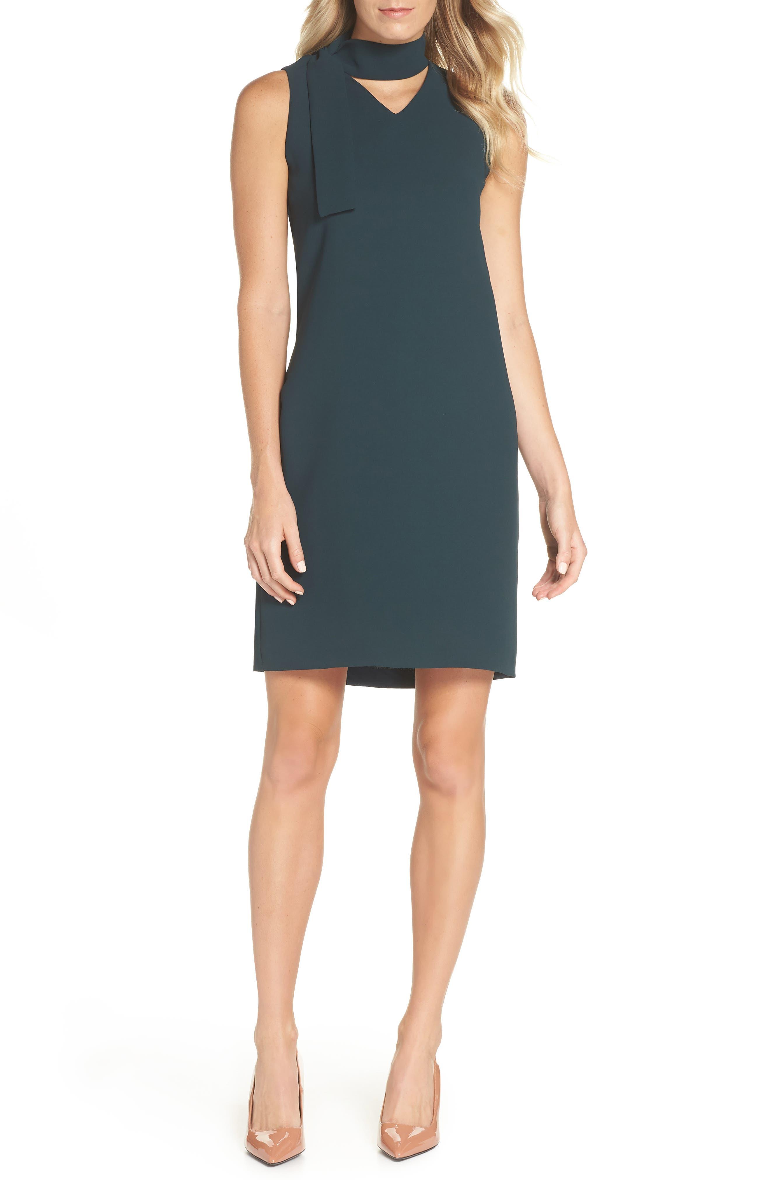 Sleeveless Choker Neck Crepe Shift Dress,                         Main,                         color, 378