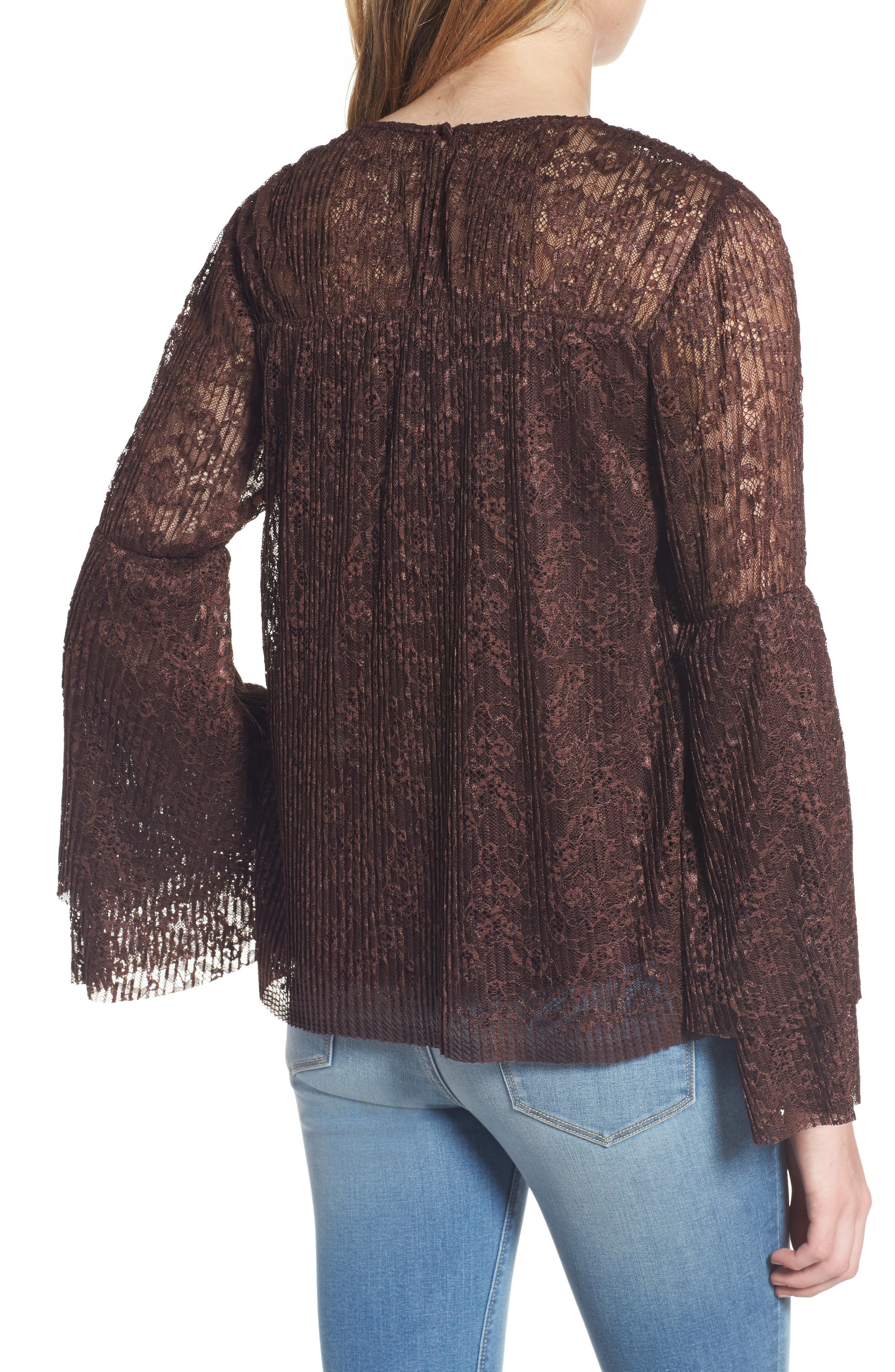 Lace Bell Sleeve Top,                             Alternate thumbnail 2, color,                             937
