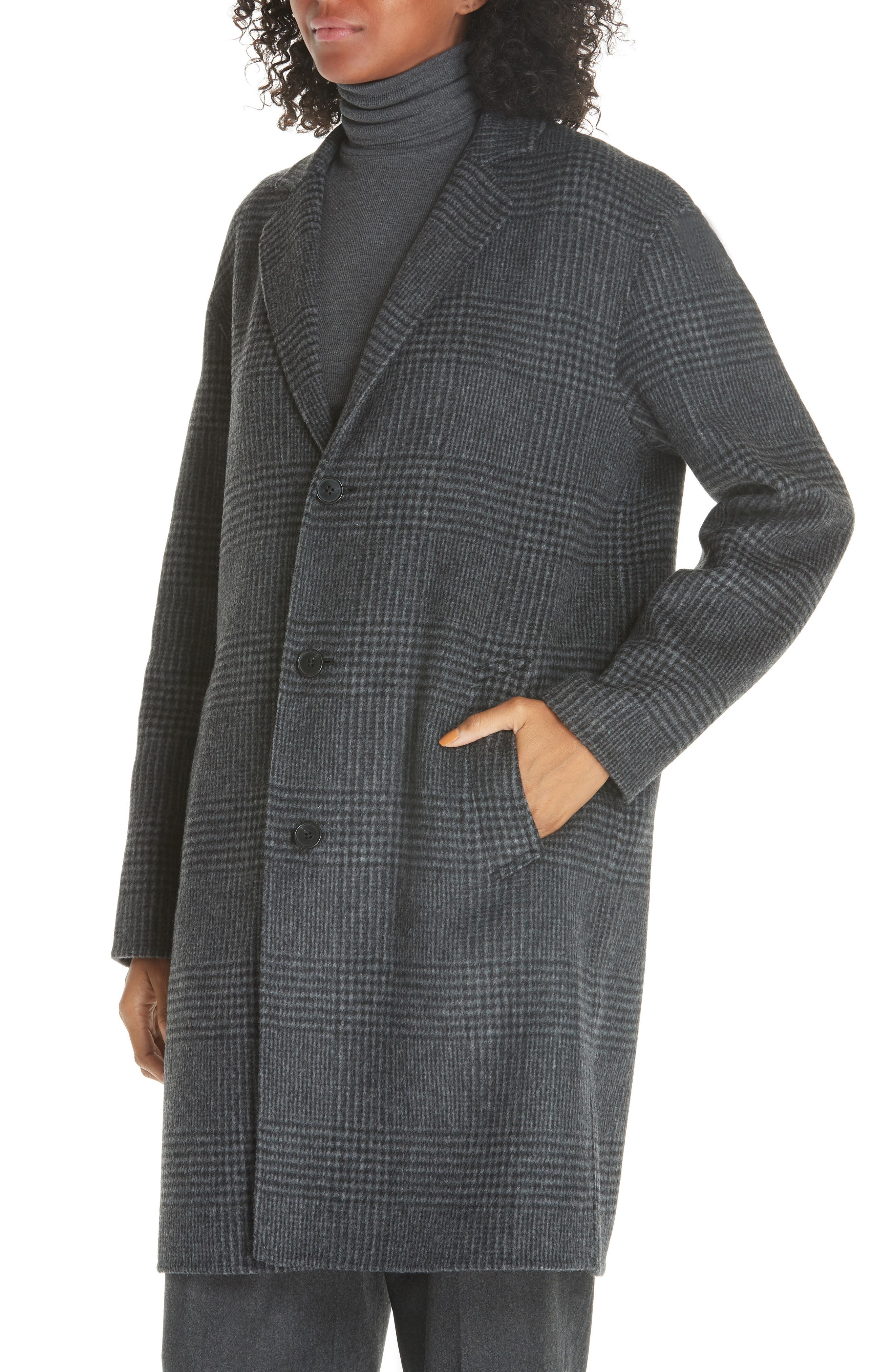 Plaid Wool Blend Coat,                             Alternate thumbnail 4, color,                             CHARCOAL GLEN PLAID