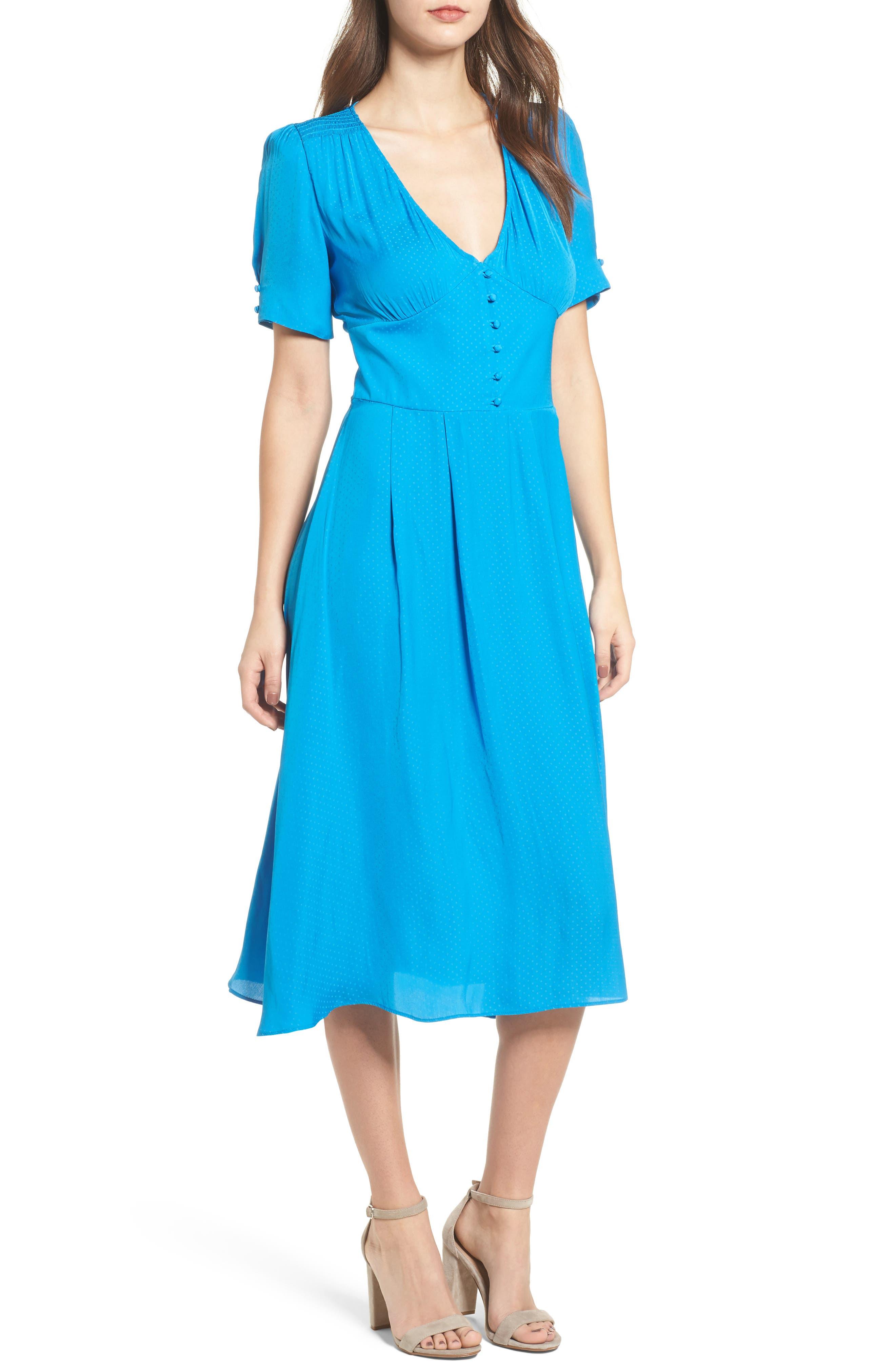 Textured Fit & Flare Midi Dress,                             Main thumbnail 1, color,