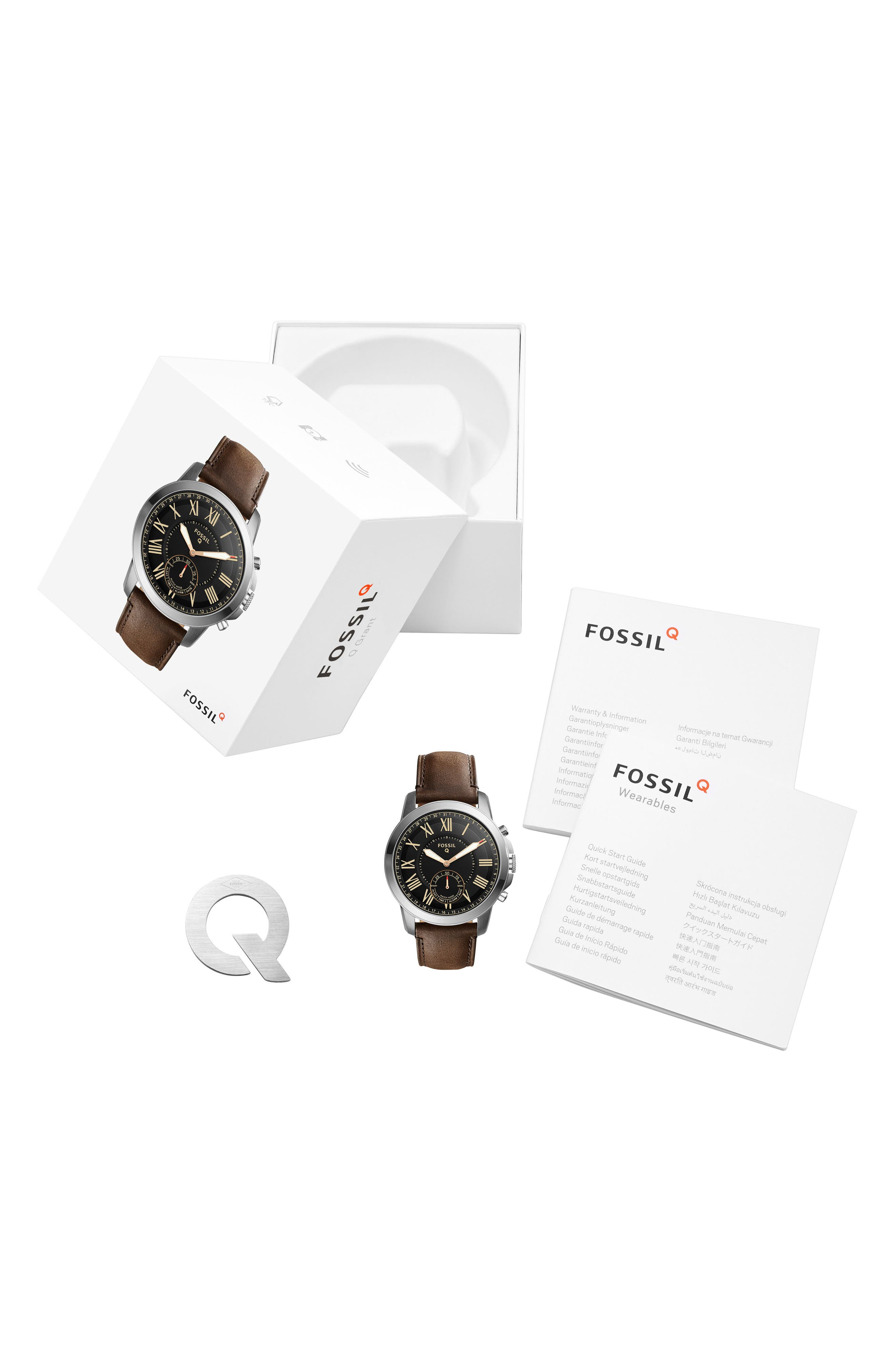 Grant Leather Strap Smart Watch, 44mm,                             Alternate thumbnail 14, color,