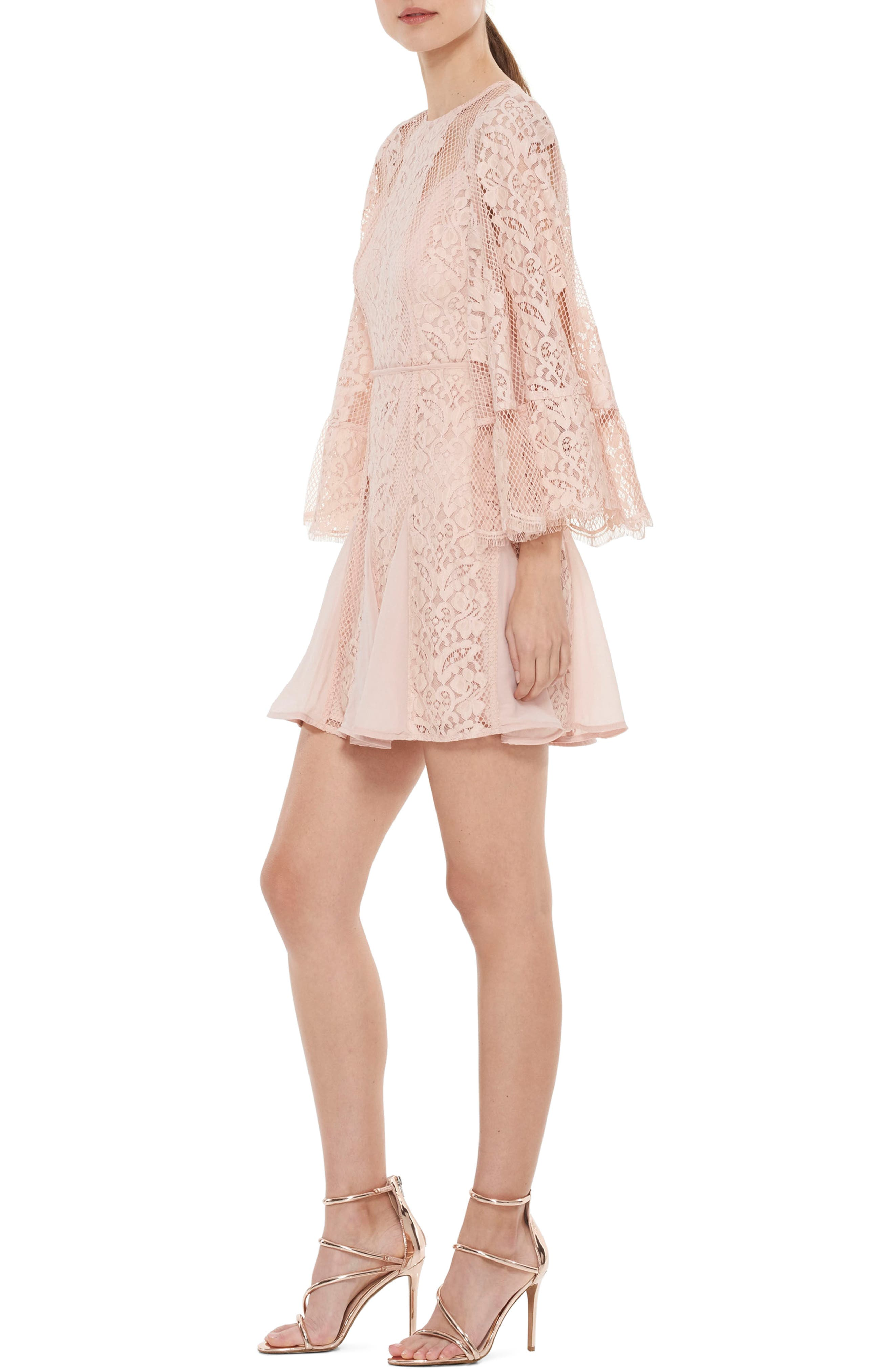 Lust Over Bell Sleeve Lace Dress,                             Alternate thumbnail 3, color,                             662